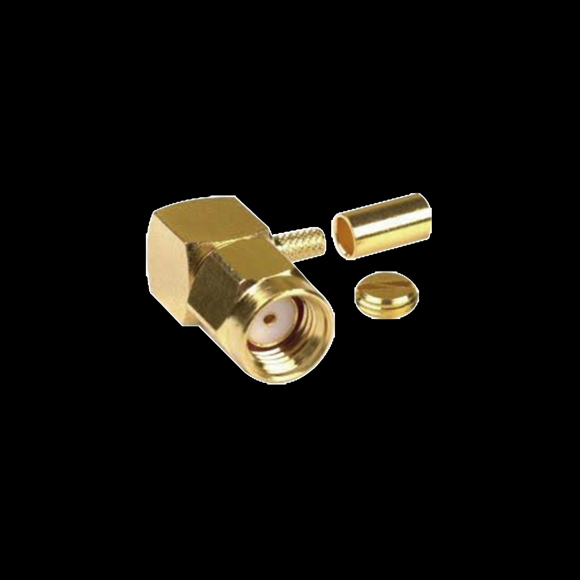 Conector SMA Macho Inverso en Angulo Recto, de Anillo plegable/ RG-174/U, BELDEN 8216, Au/Au/Teflón.