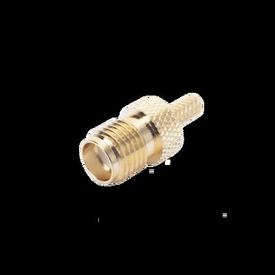 Conector SMA Hembra Inverso de anillo plegable para cable RG-174/U, BELDEN 8216.