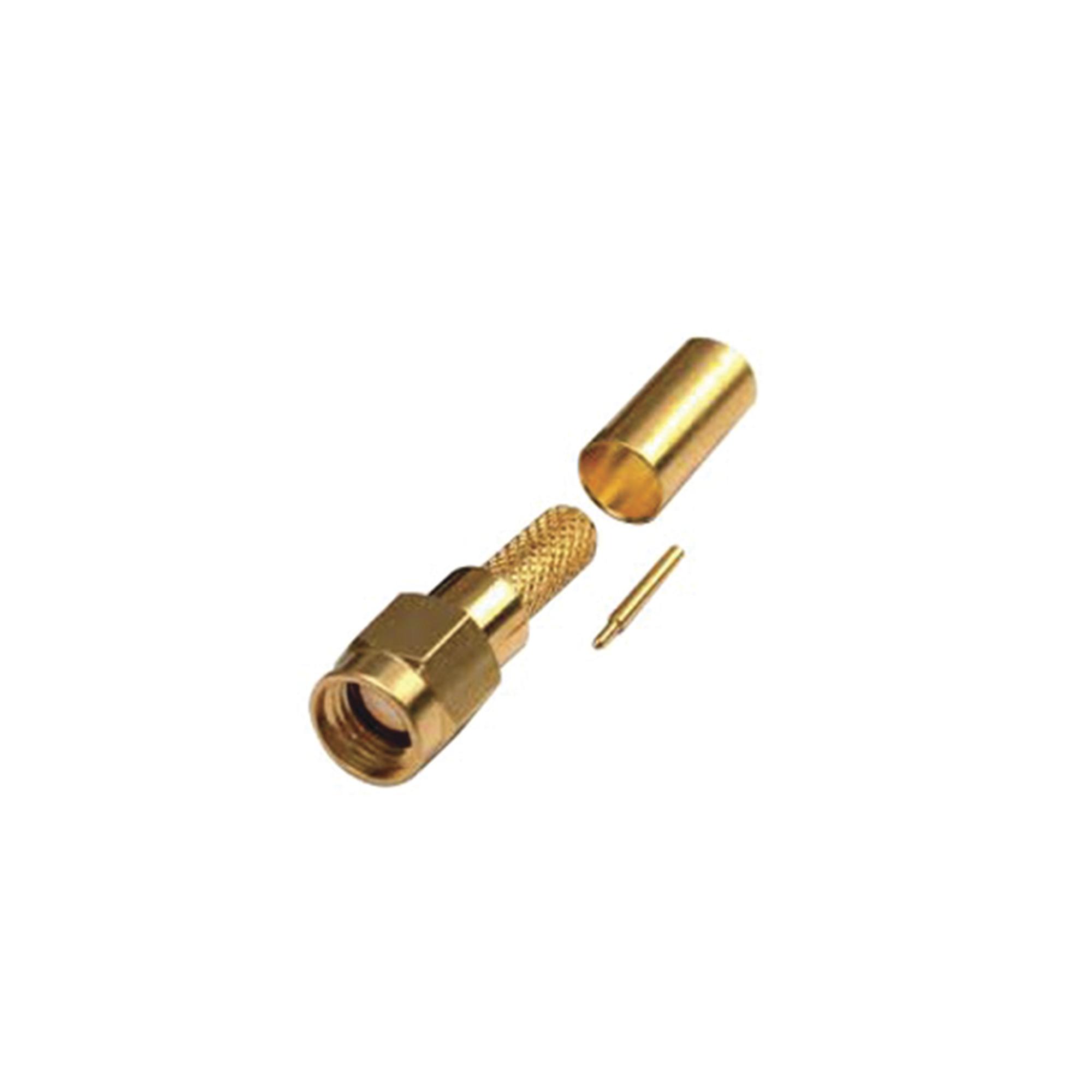 Conector SMA Macho de Anillo Plegable para Cables RG-142/U, LMR-195, Oro/Oro/Teflón.