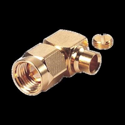 """Conector SMA Macho en A/R para Cable Semi-Rígido de 0.141"""" de Diámetro, Oro/ Oro/ Teflón."""