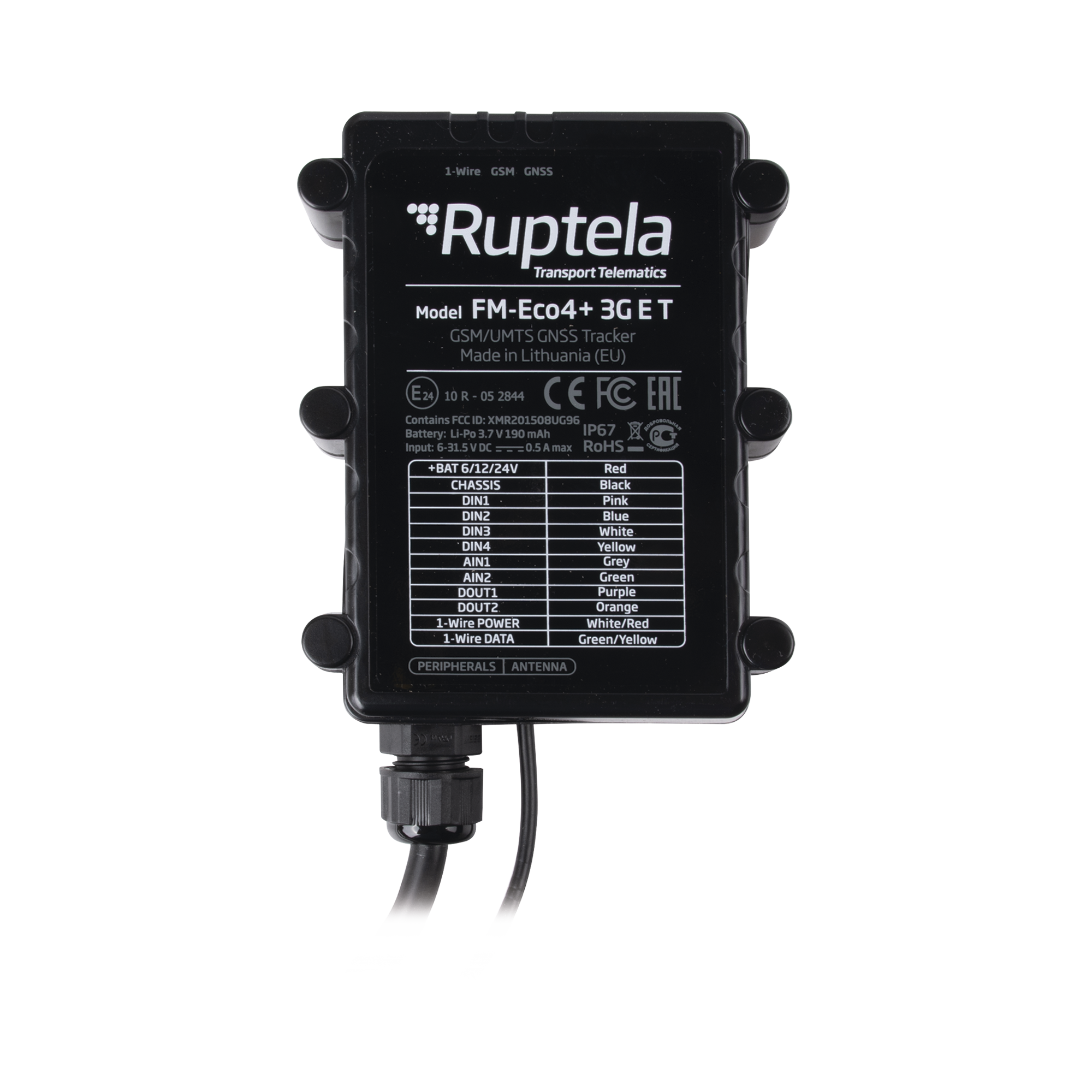 Localizador vehicular 3G / Antena Satelital Externa / Contra agua y polvo IP67 / RFID / Apagado de motor a distancia / Anti Jammer