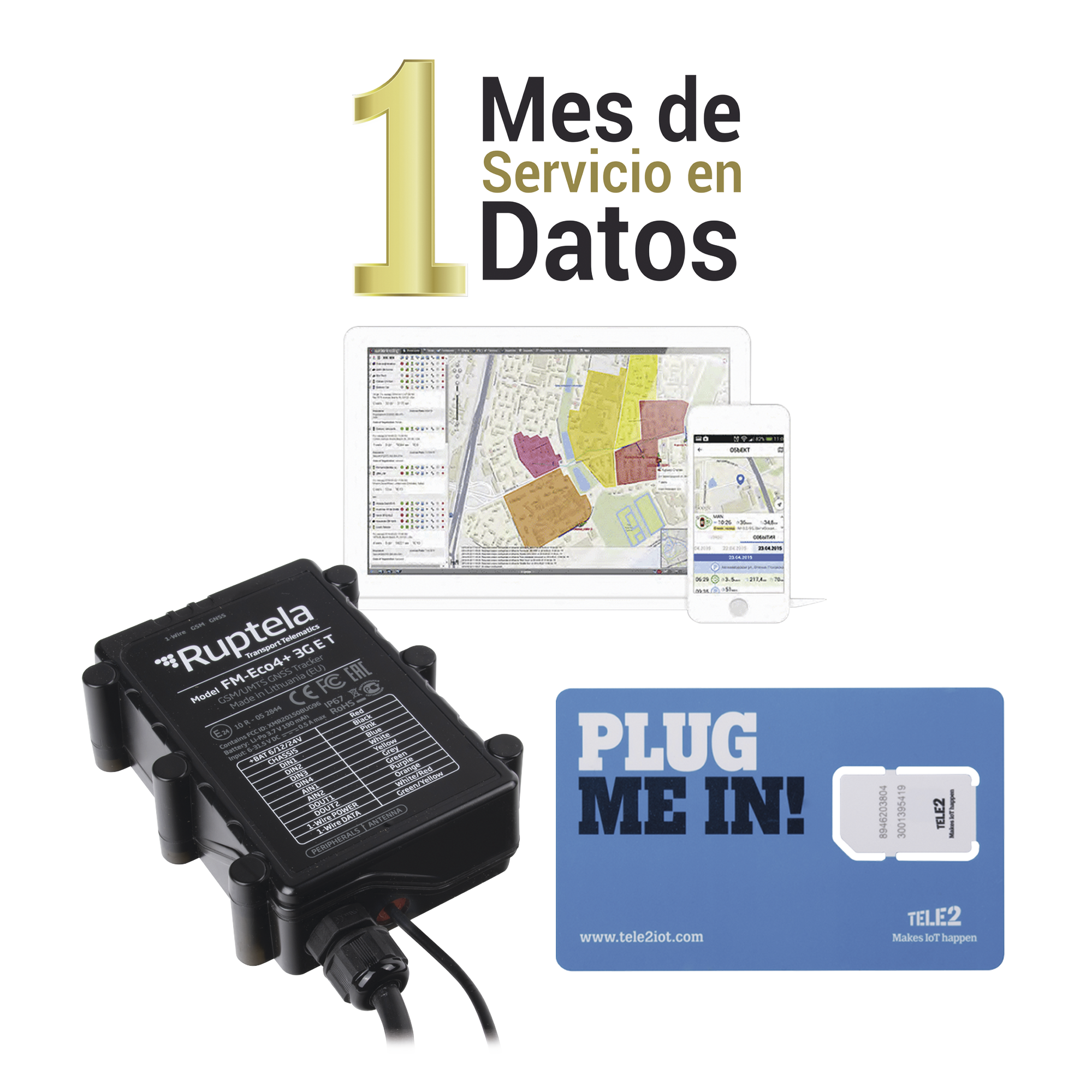kit Localizador Vehicular, Incluye ECO4LIGHT3GEPCOM + SIM30M2M + VOUCHER1M + EPCOMGPSMENSUAL