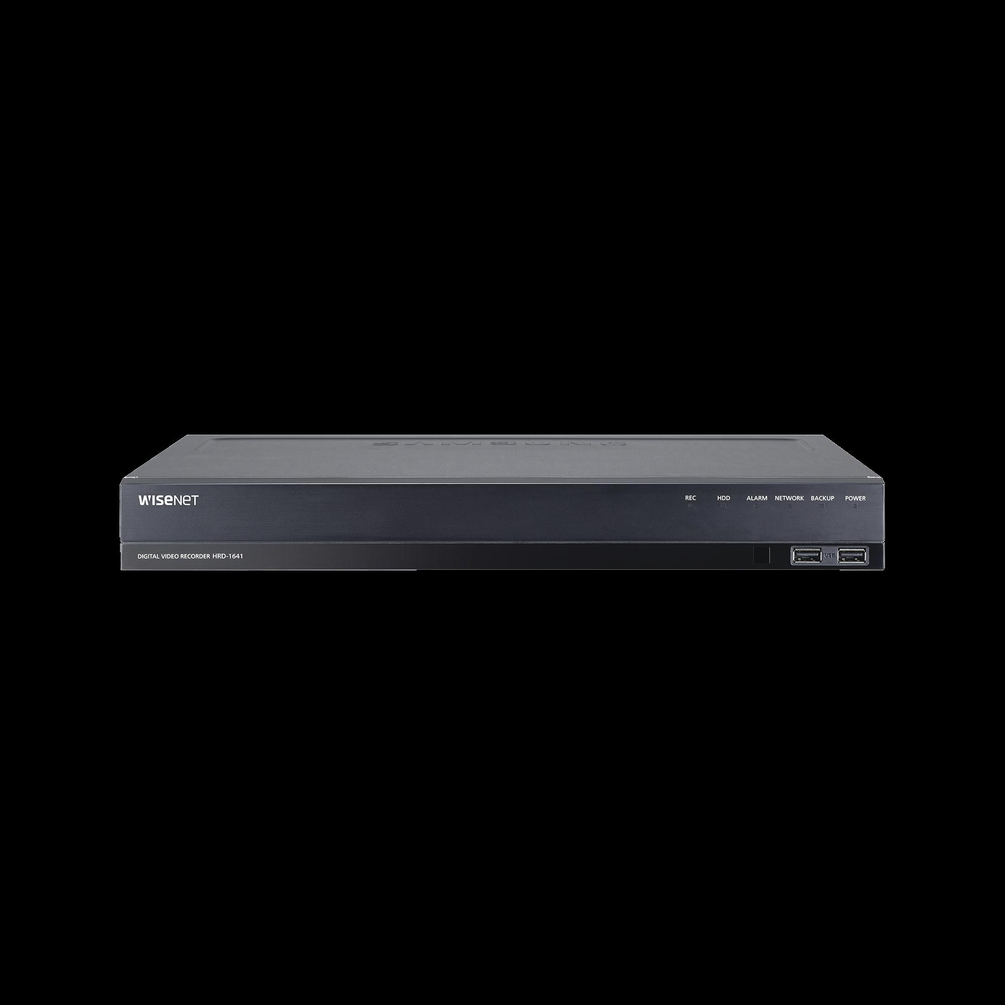 DVR 16 Canales hasta 4 Megapixel / Soporta 4 Tecnologías (AHD, TVI, CVI, CVBS) / Hasta 2HDDs / Entradas y Salidas de Audio y Alarma / Incluye 2TB
