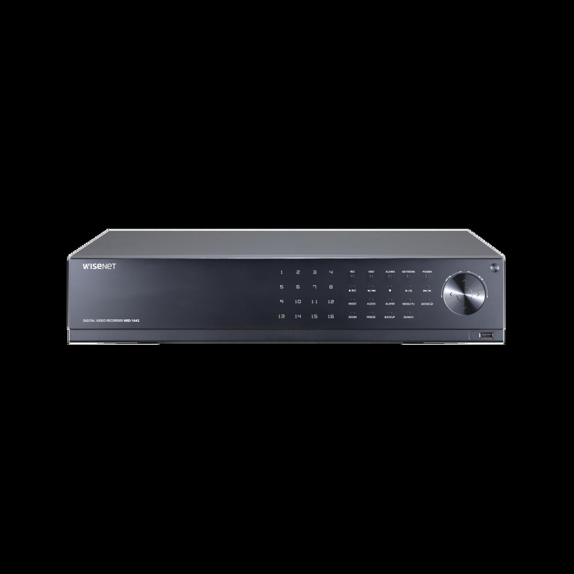 DVR 16 Canales hasta 4 Megapixel / Soporta 4 Tecnologías (AHD, TVI, CVI, CVBS) / Hasta 8 HDDs / Entradas y Salidas de Audio y Alarma / Incluye 24TB