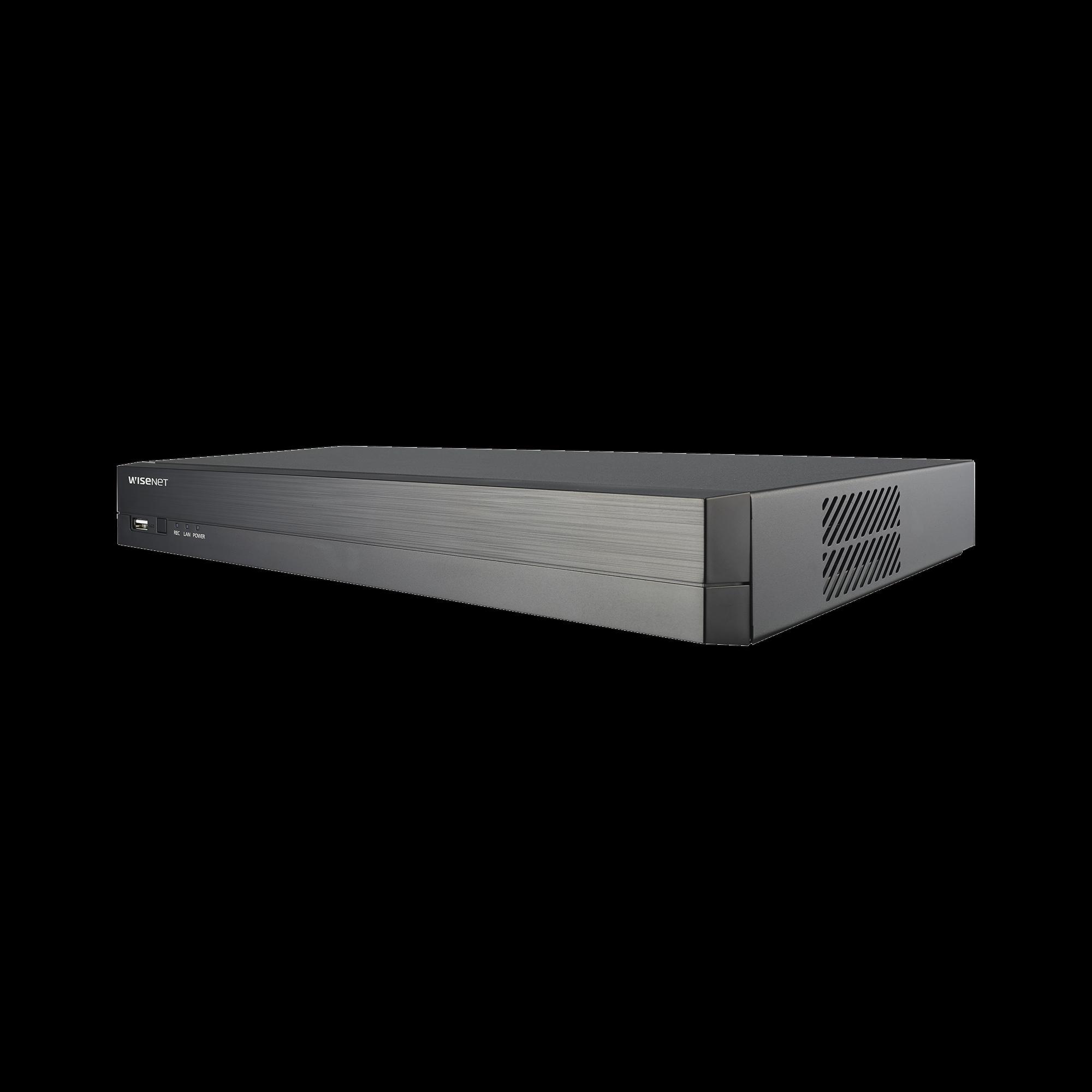 NVR 8 Megapíxel / 4 canales / H.265 / P2P Wisenet / 4 puertos PoE