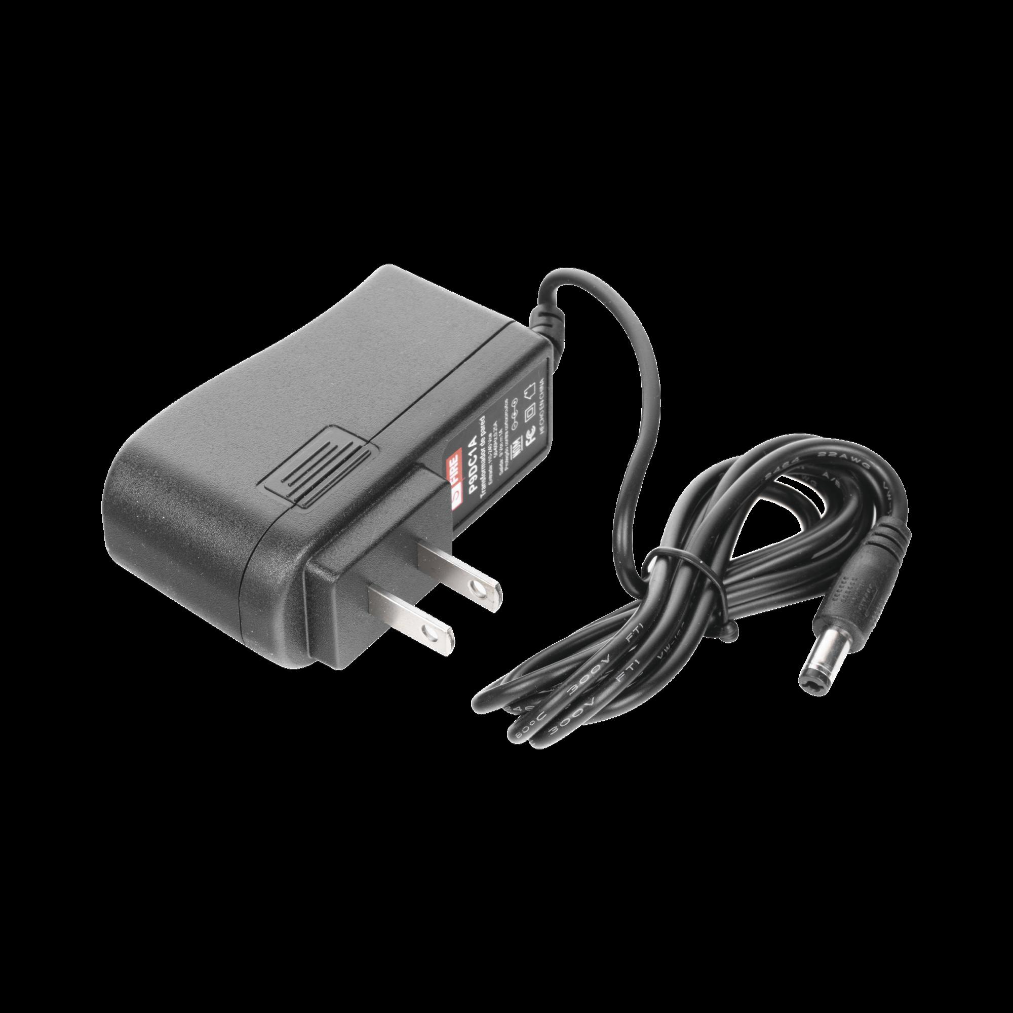 Fuente de poder de 9 Vcd regulado @ 1A UL; Voltaje de entrada de 100-240 Vca. Certificación de NOM