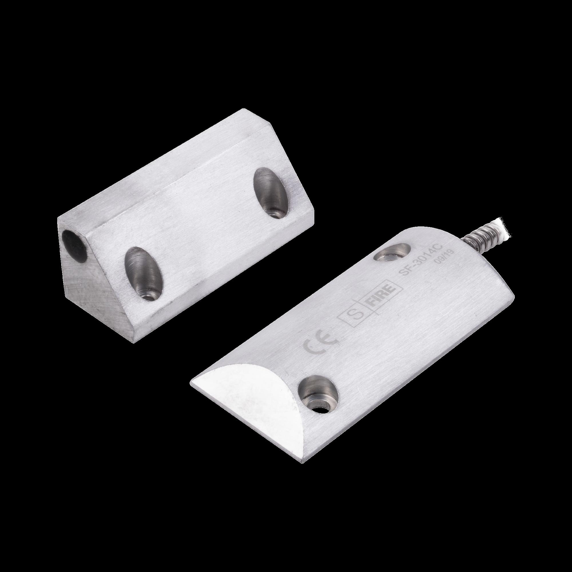 Contacto Magnético para Piso, Salida Dual NC/NA, GAP 75mm, Cubierta de Aluminio con 55cm de Cable Blindado