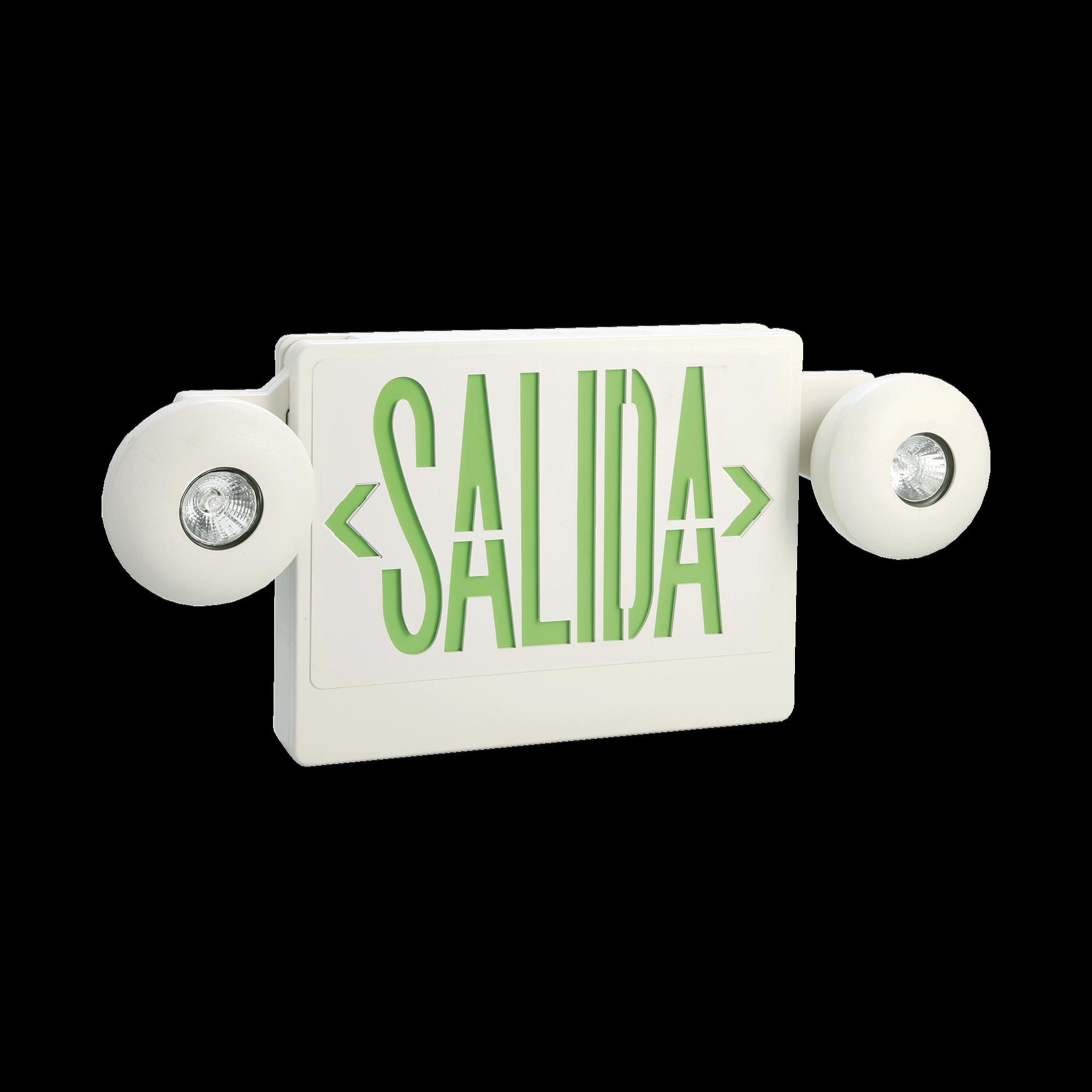 Letrero LED de SALIDA con Luz de Emergencia/Montaje Universal (pared, lateral o Techo)/Batería de Respaldo Incluida