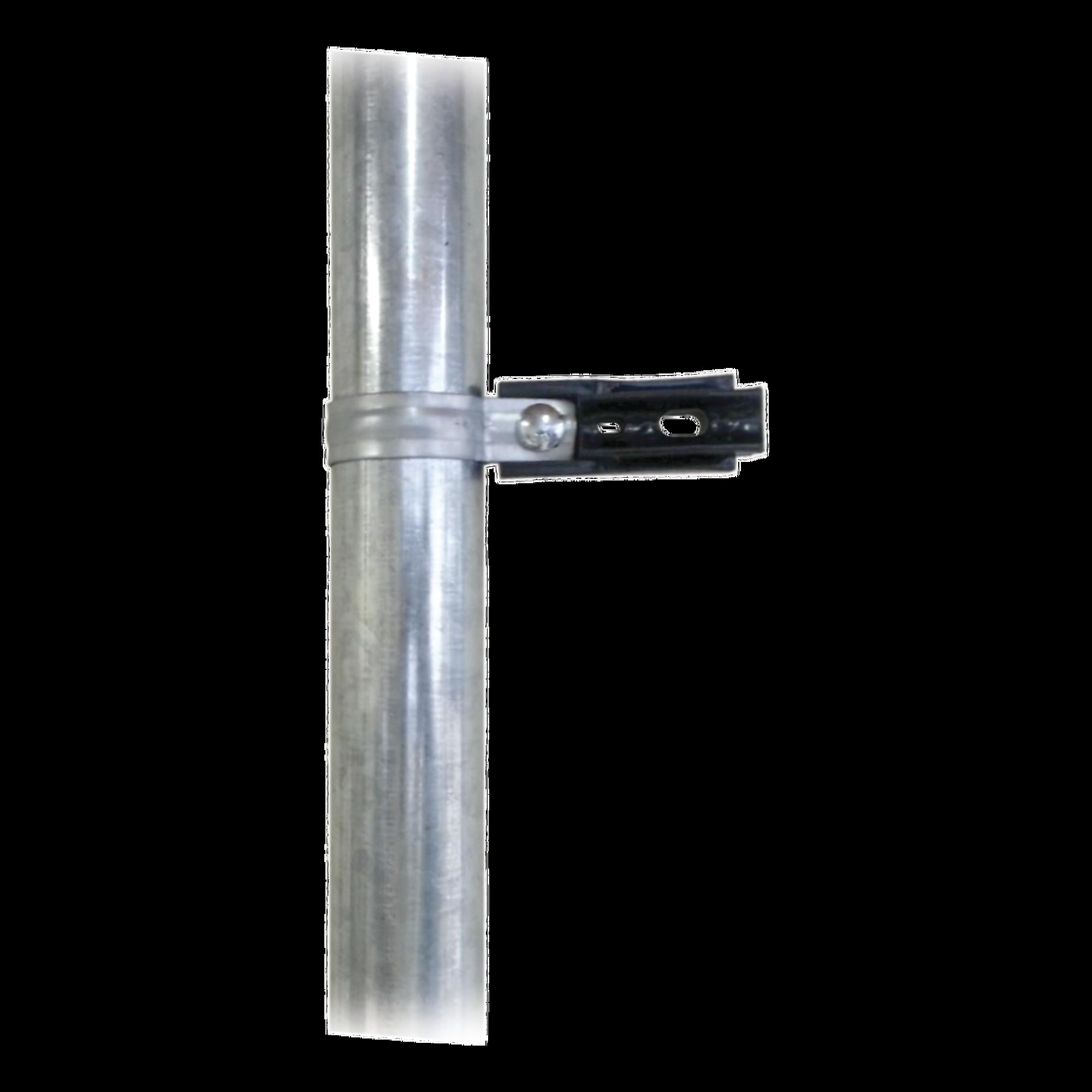 Aislador de paso o esquina con abrazadera incluida de 33-38mm para uso en tubería de malla ciclónica.