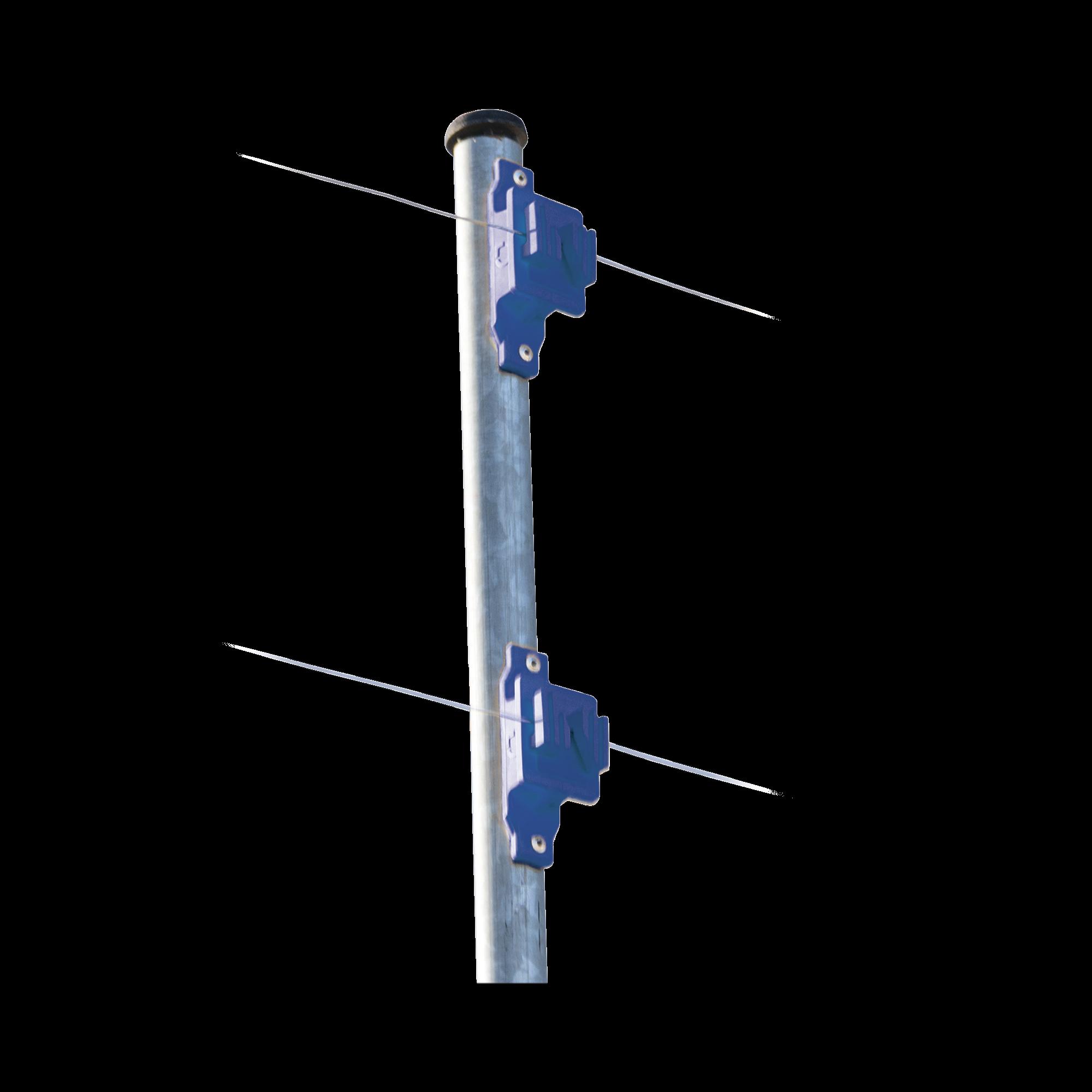 Aislador de Paso colo Azul reforzado para cercos eléctricos, resistente al clima extremoso