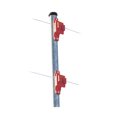 Aislador de Paso color Rojo reforzado para cercos eléctricos, resistente al clima extremoso