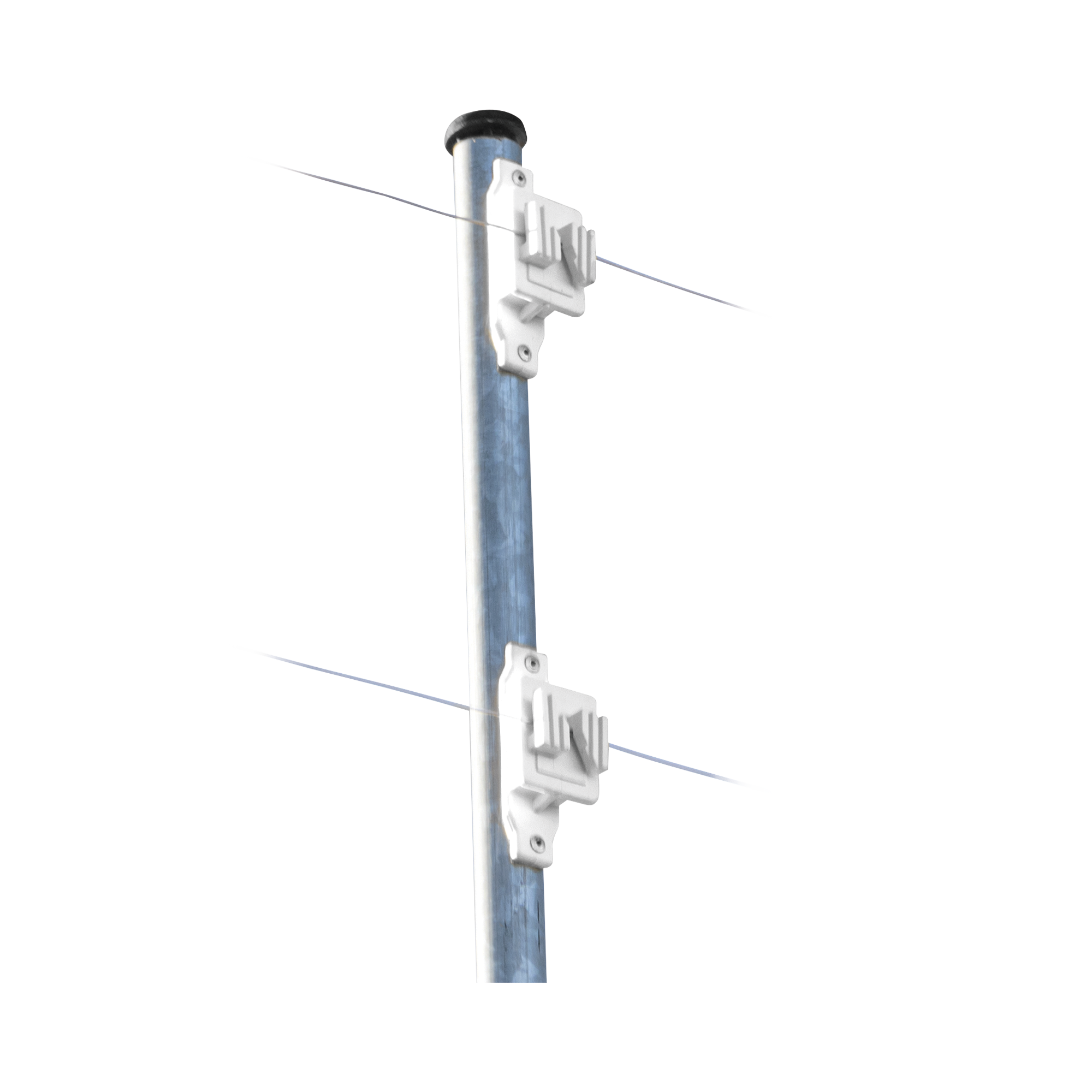 Aislador de Paso Blanco reforzado para cercos eléctricos, resistente al clima extremoso