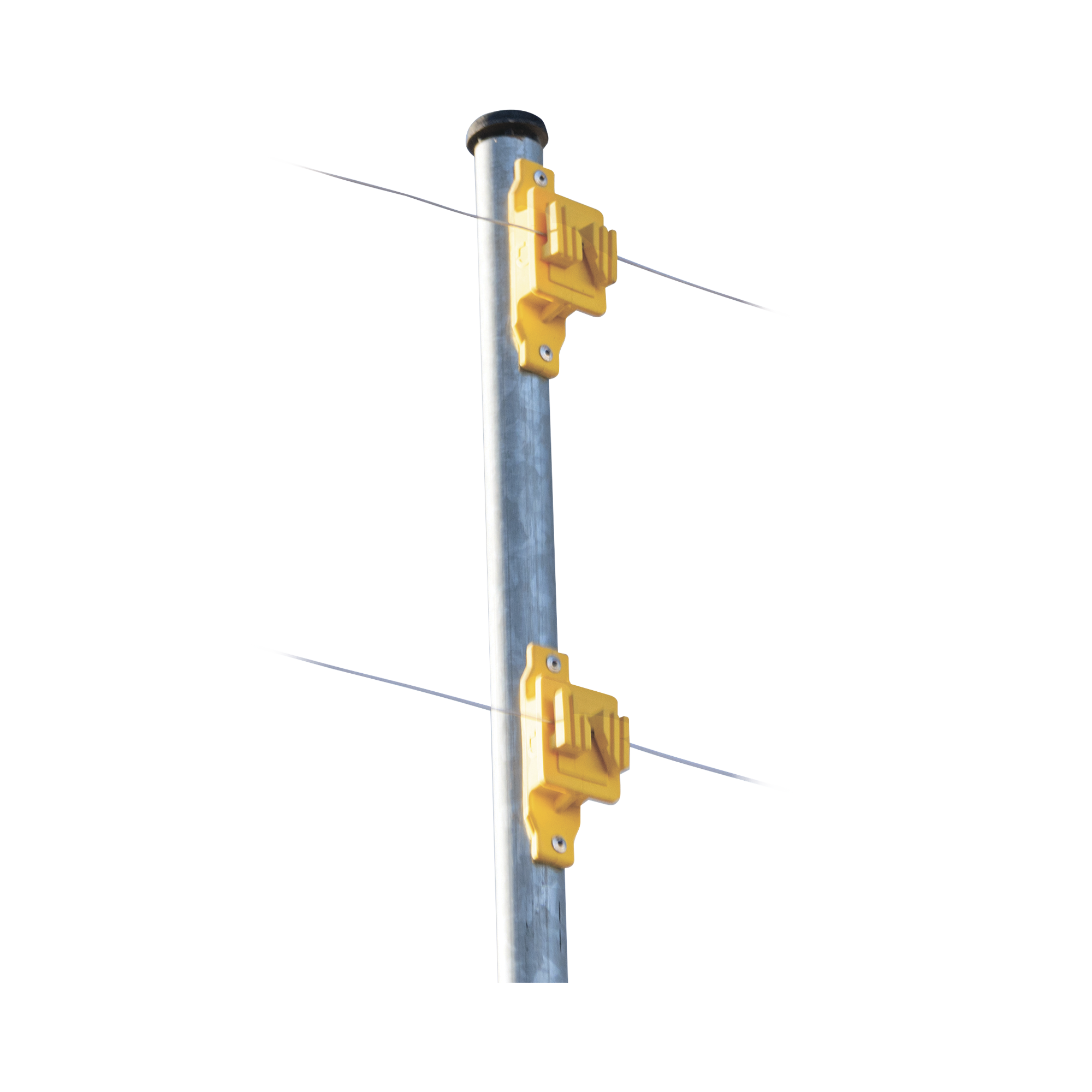 Aislador de Paso color Amarillo reforzado para cercos eléctricos, resistente al clima extremoso