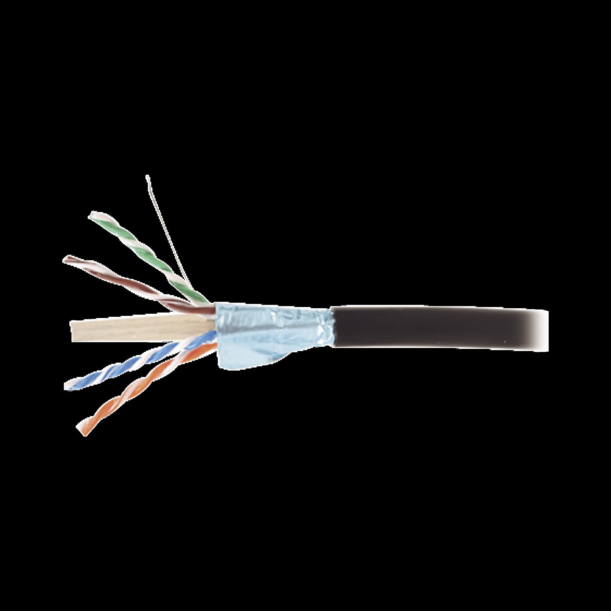 Bobina de Cable Blindado F/UTP de 4 Pares, Para Exterior con Gel, Cat6A (23 AWG), Industrial para Climas Extremos, Enterrado Directo, Color Negro, 305 m