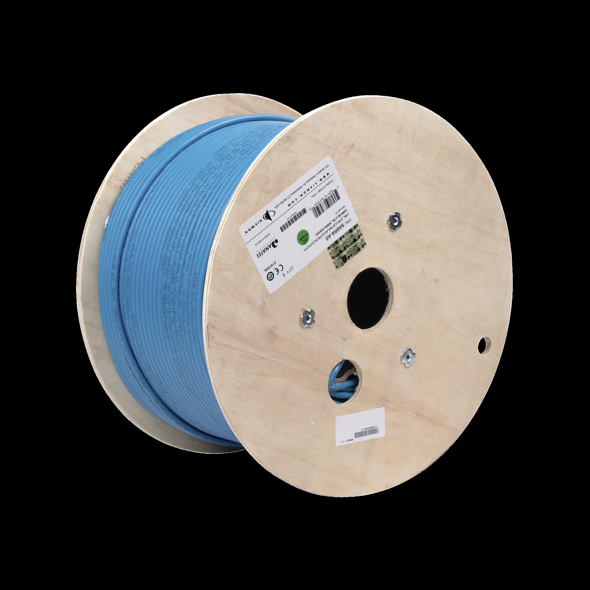 Bobina de Cable Blindado F/UTP de 4 Pares, Z-MAX, Cat6A, Soporte de Aplicaciones 10GBase-T, CMR (Riser), Color Azul, 305m