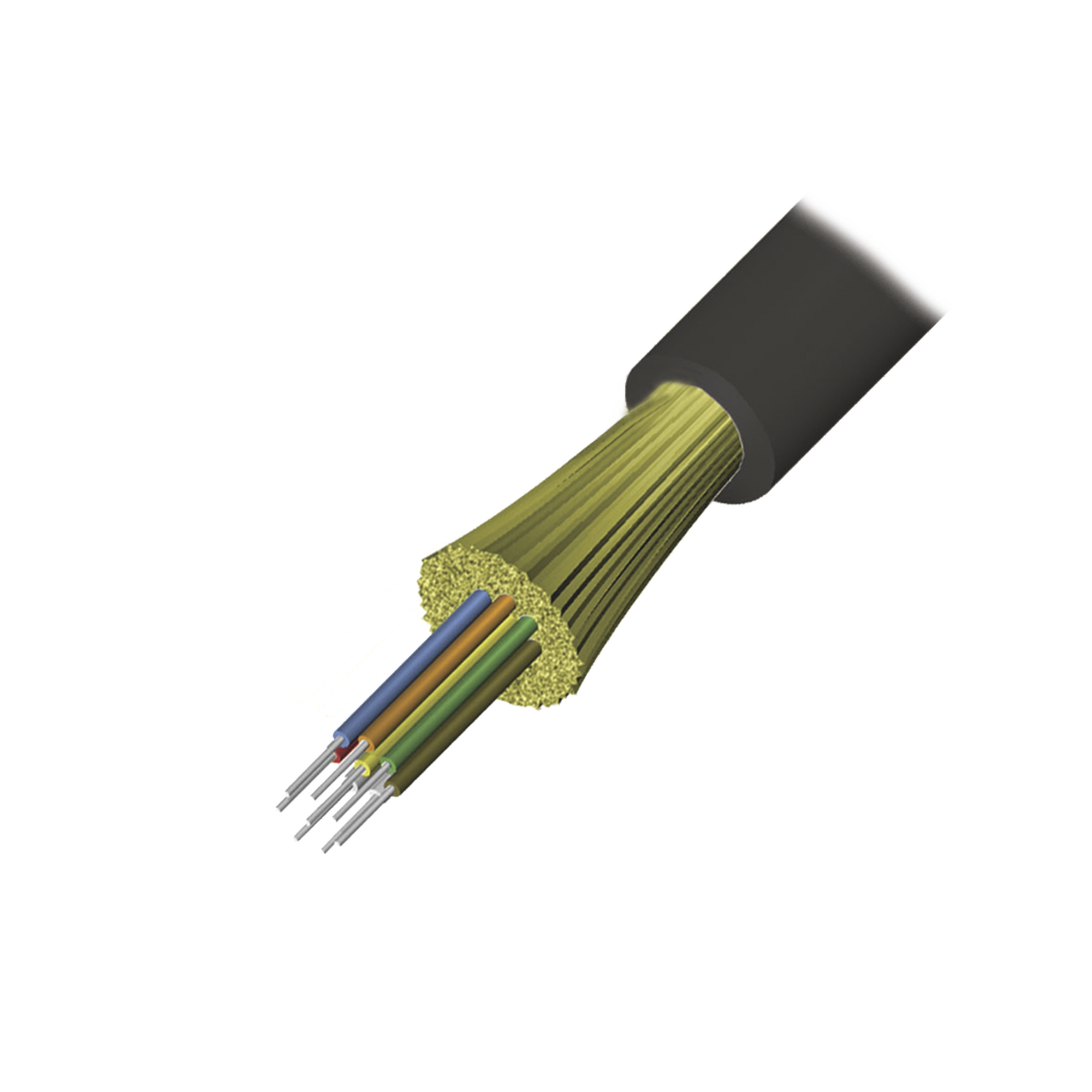 Cable de Fibra óptica de 6 hilos, Interior/Exterior, Tight Buffer, No Conductiva (Dieléctrica), LS0H, Multimodo OM3 50/125 optimizada, 1 Metro