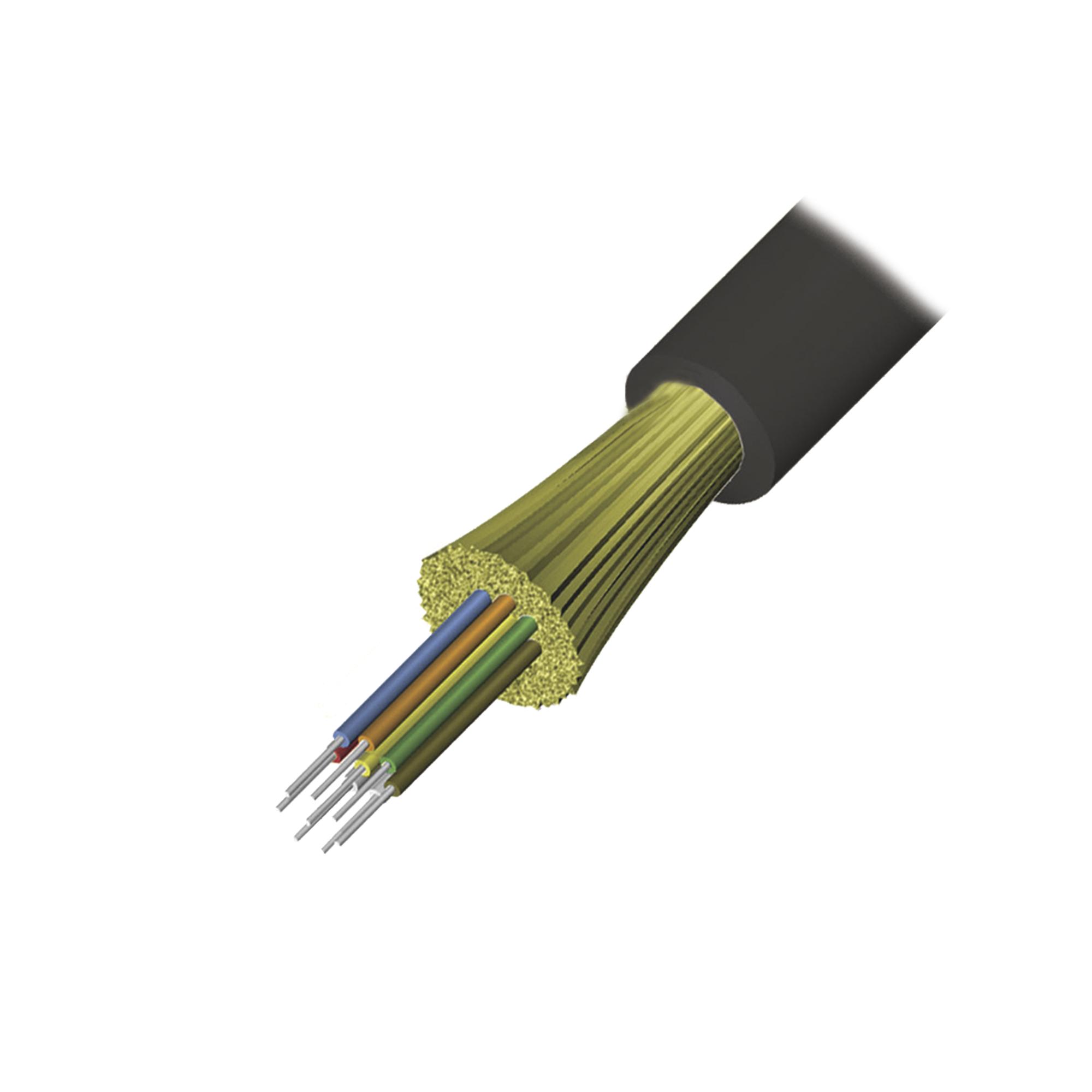 Cable de Fibra optica de 12 hilos, Interior/Exterior, Tight Buffer, No Conductiva (Dielectrica), Plenum, Multimodo OM4 50/125 optimizada, 1 Metro