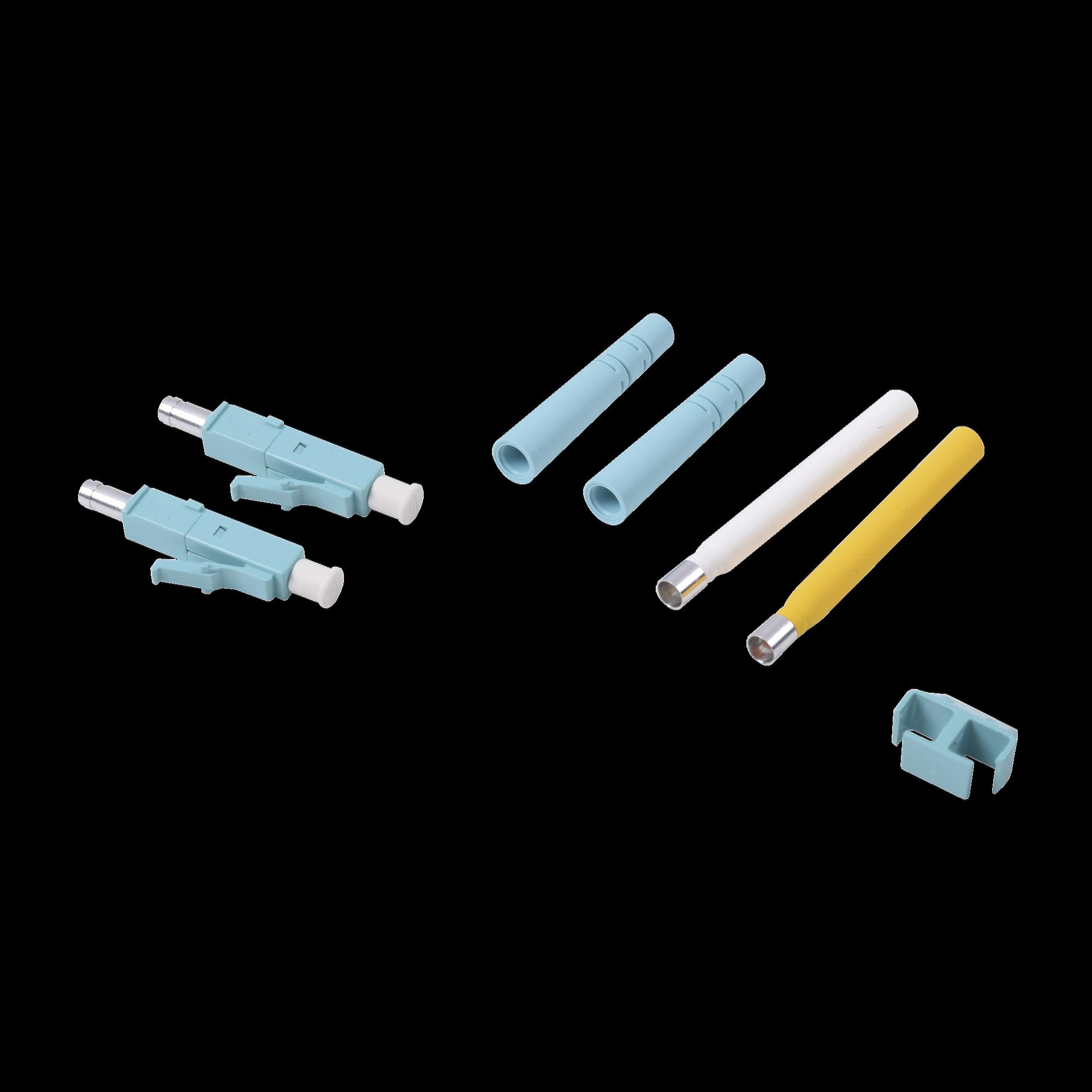 Conector de Fibra óptica LC Duplex, Epoxico, Fibra Recubierta, Multimodo, Color Aqua