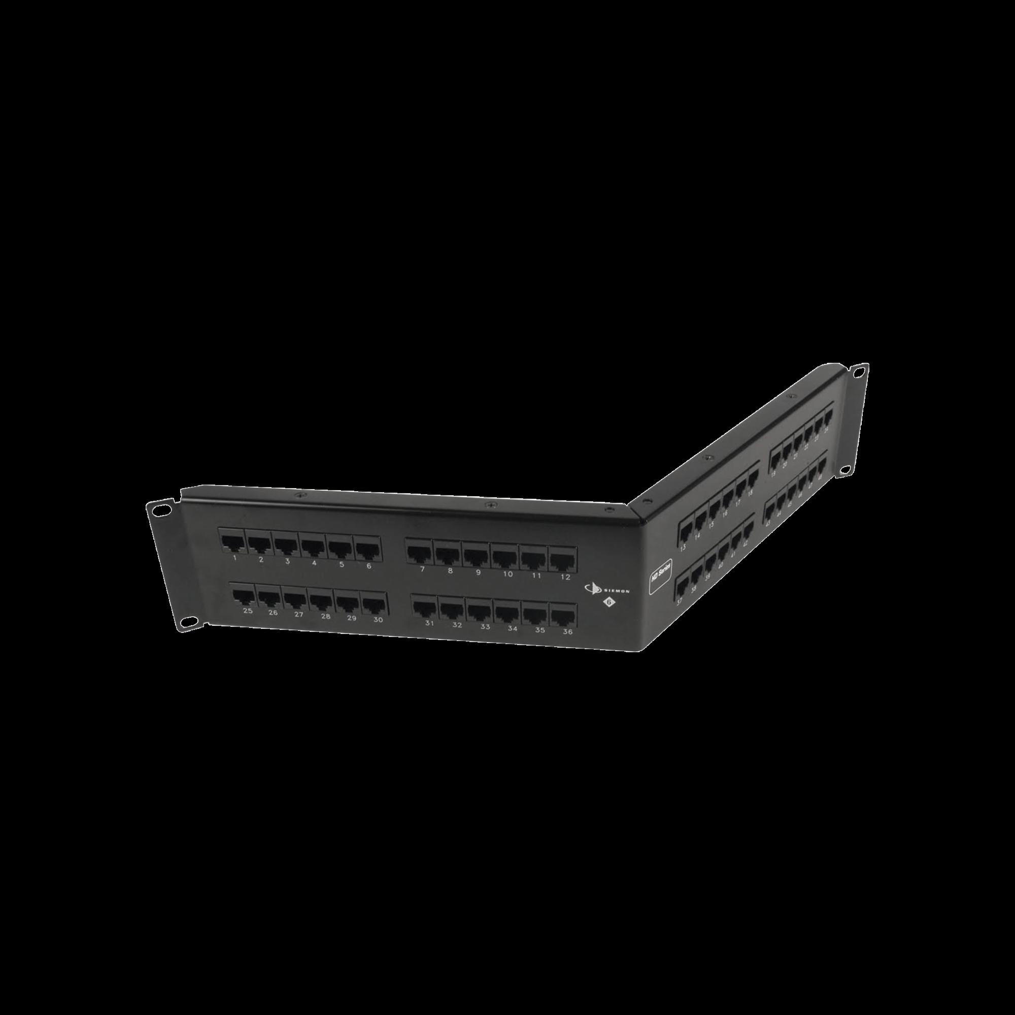 Patch Panel UTP HD6 Categoría 6, de 48 puertos, Angulado, 2UR