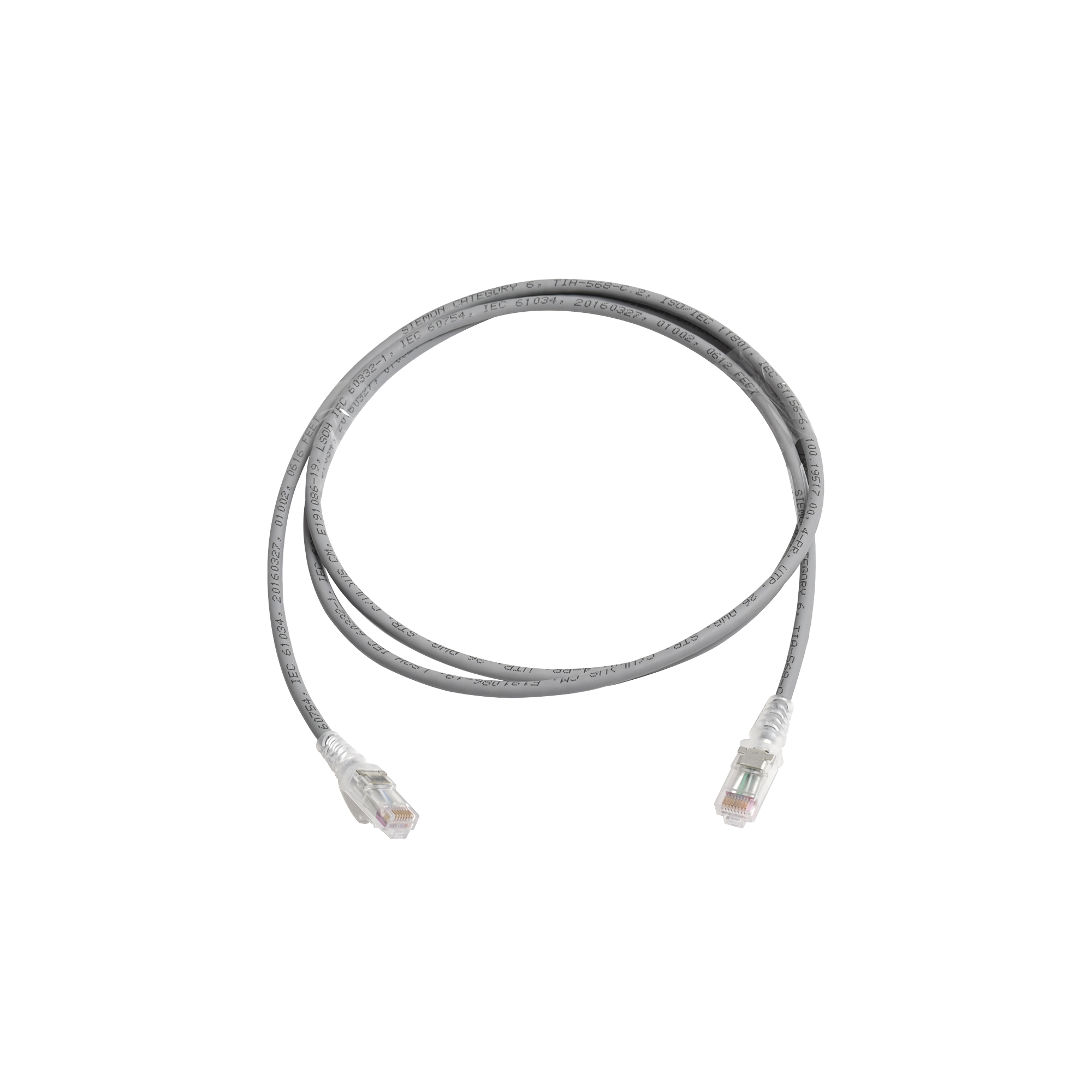 Patch Cord MC6 Modular Cat6 UTP, CM/LS0H, 5ft, Color Gris