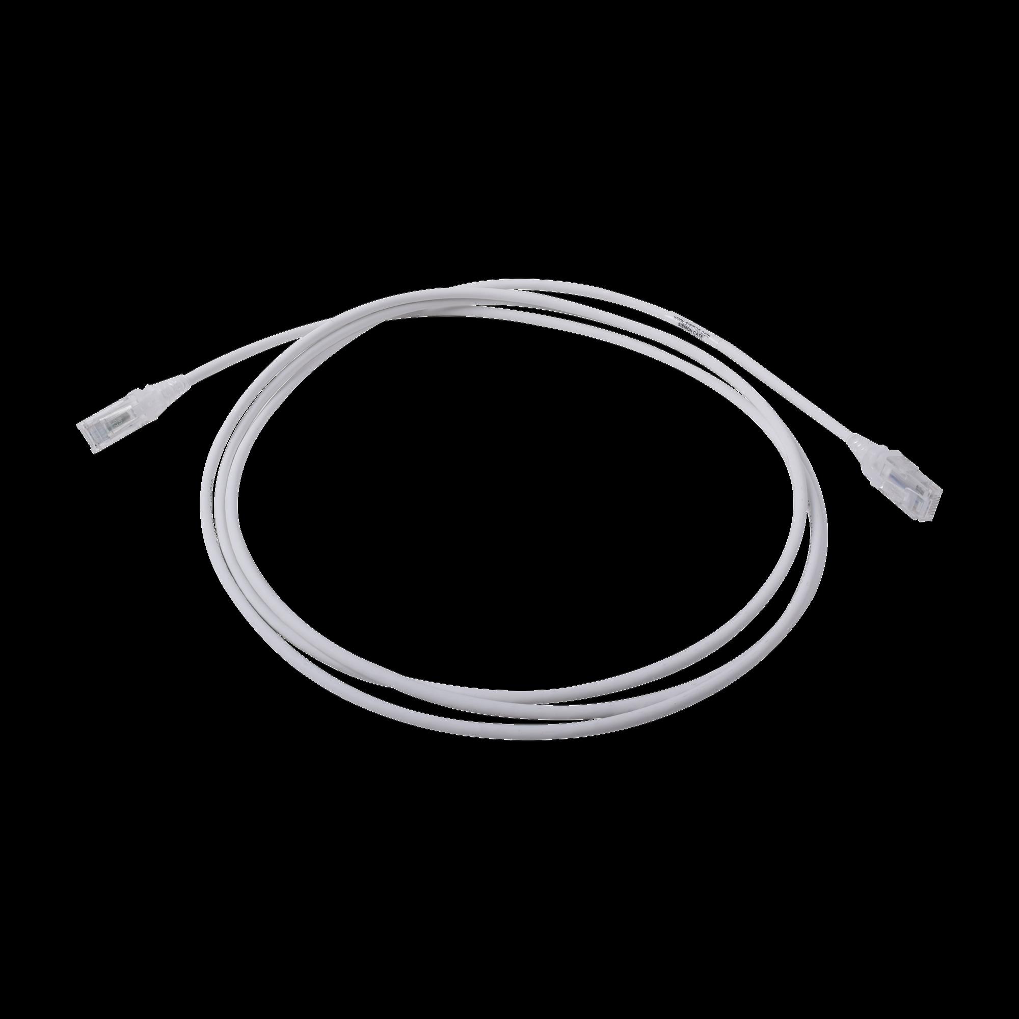 Patch Cord MC6 Modular Cat6 UTP, CM/LS0H, 7ft, Color Blanco, Diámetro Reducido (28AWG)