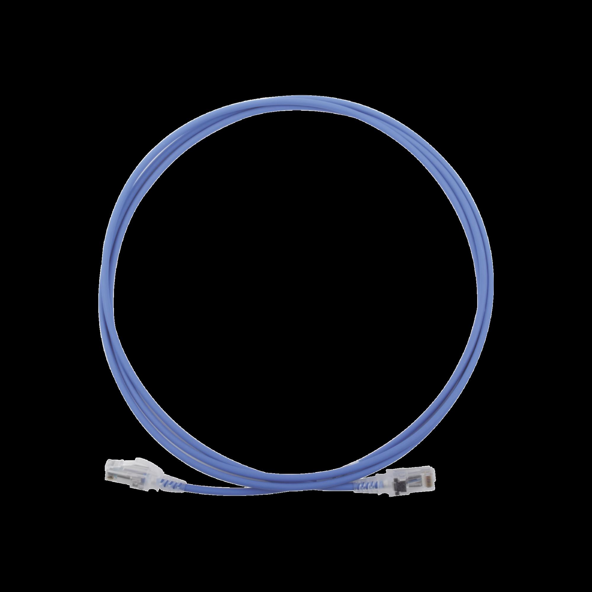Patch Cord MC6 Modular Cat6 UTP, CM/LS0H, 7ft, Color Azul, Diámetro Reducido (28AWG)