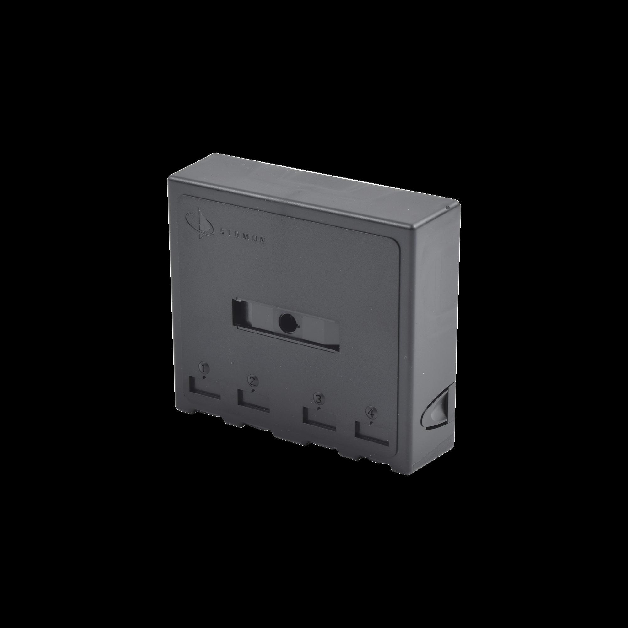 Caja de Montaje Superficial, Acepta 4 Módulos MAX, Con Puerta Protectora, Color Negro