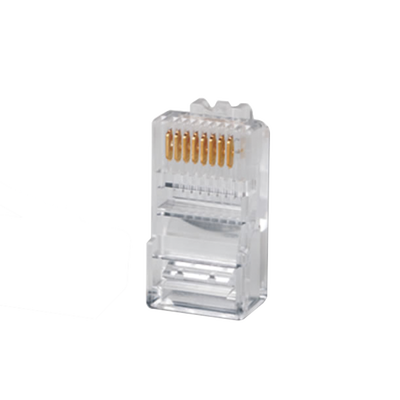 Plug RJ45 Cat5e, Para Cable UTP Calibre 22 a 26 AWG, Chapado en Oro de 50 micras