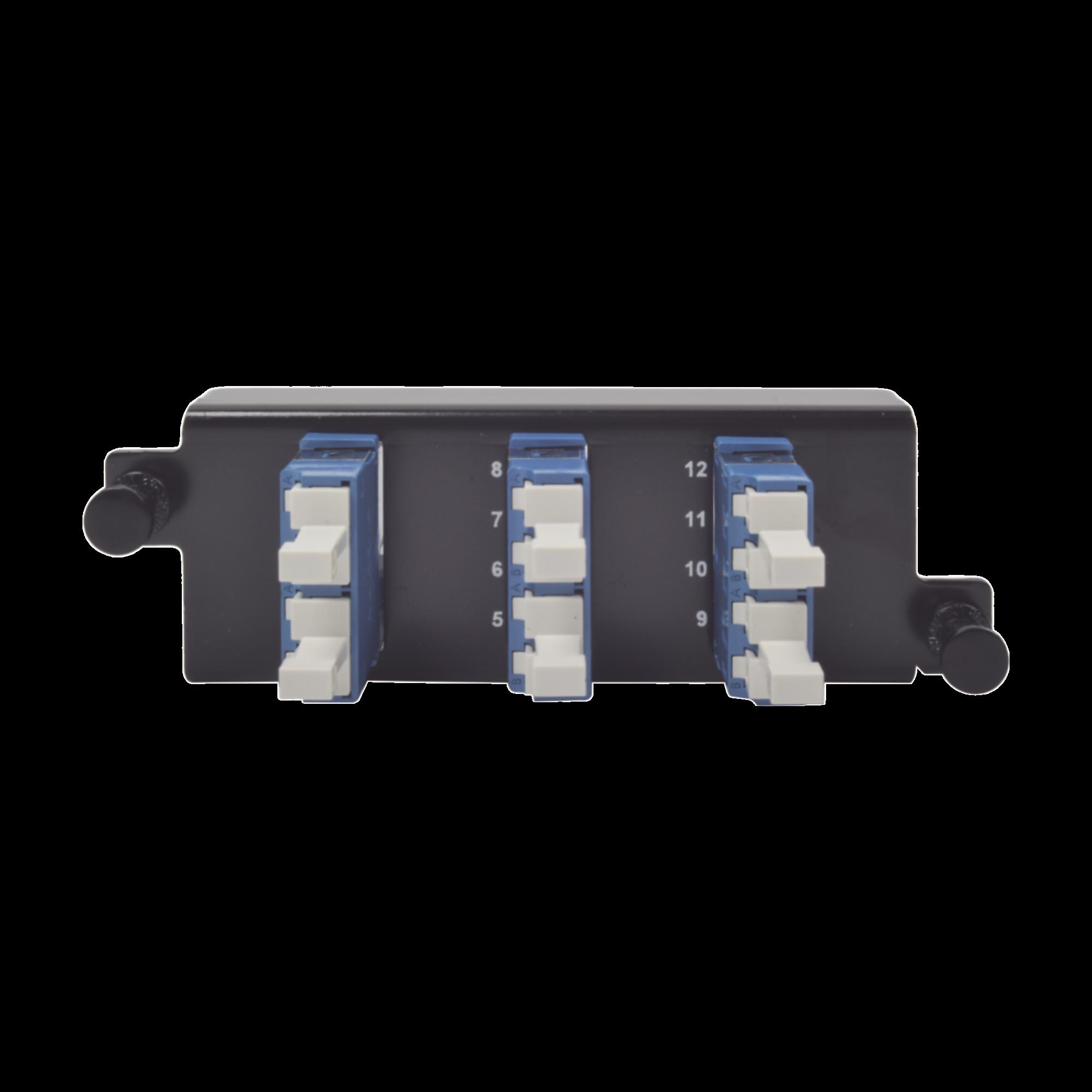 Placa acopladora de Fibra óptica Plug and Play, Con 6 Conectores LC Duplex (12 Fibras), Para Fibra Monomodo, Azul