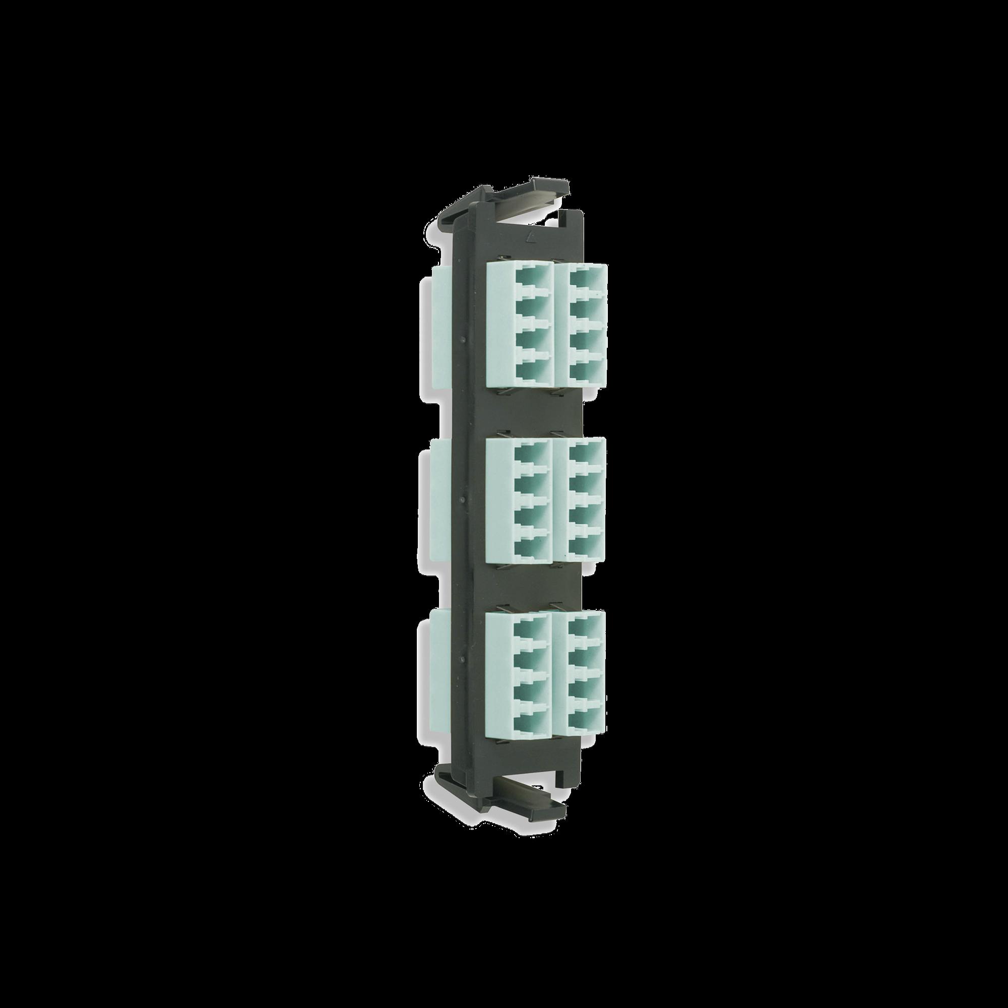 Placa acopladora de Fibra óptica Quick-Pack, Con 6 Conectores LC Quad (24 Fibras), Para Fibra Multimodo, Aqua