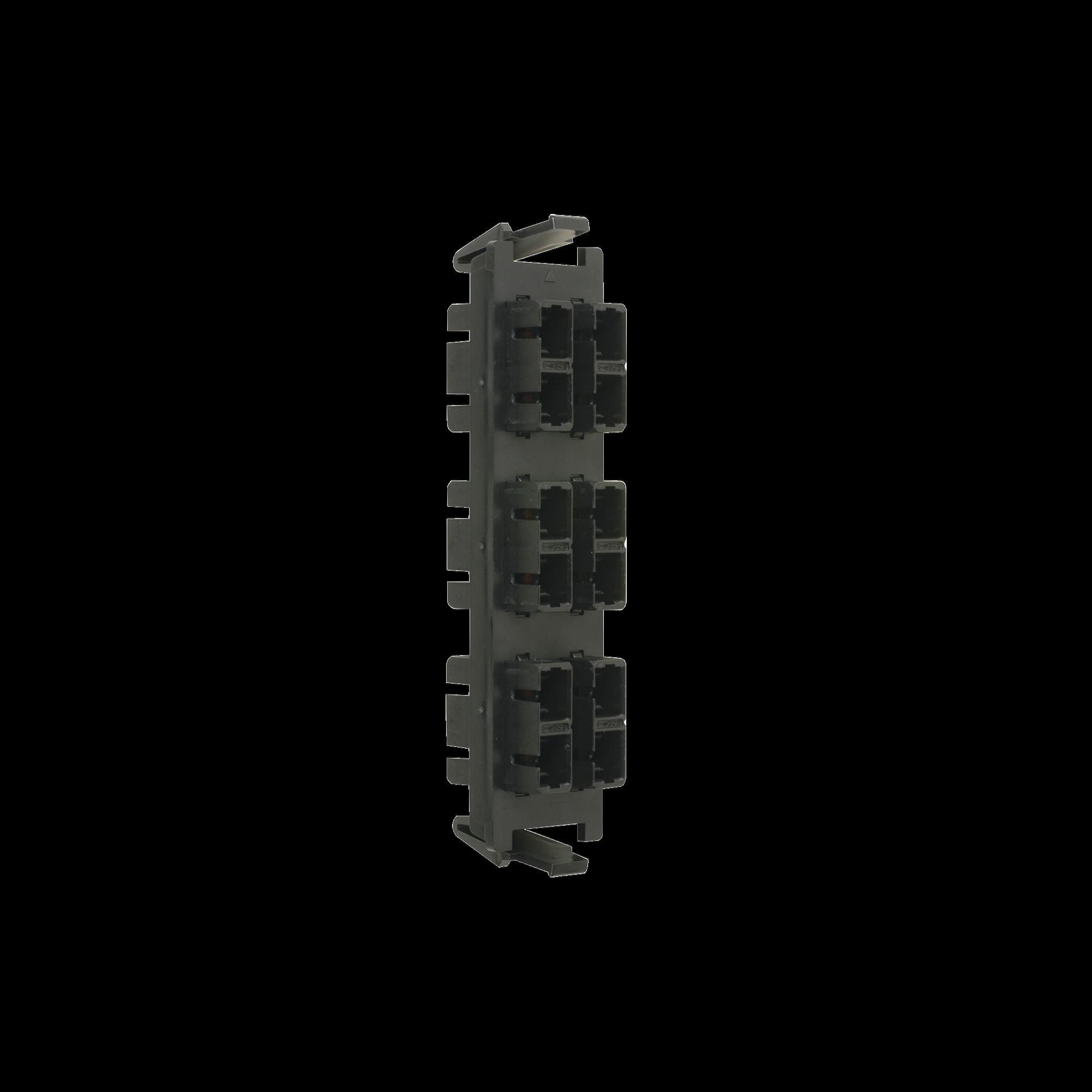 Placa acopladora de Fibra óptica Quick-Pack, Con 6 Conectores SC Duplex (12 Fibras), Negro
