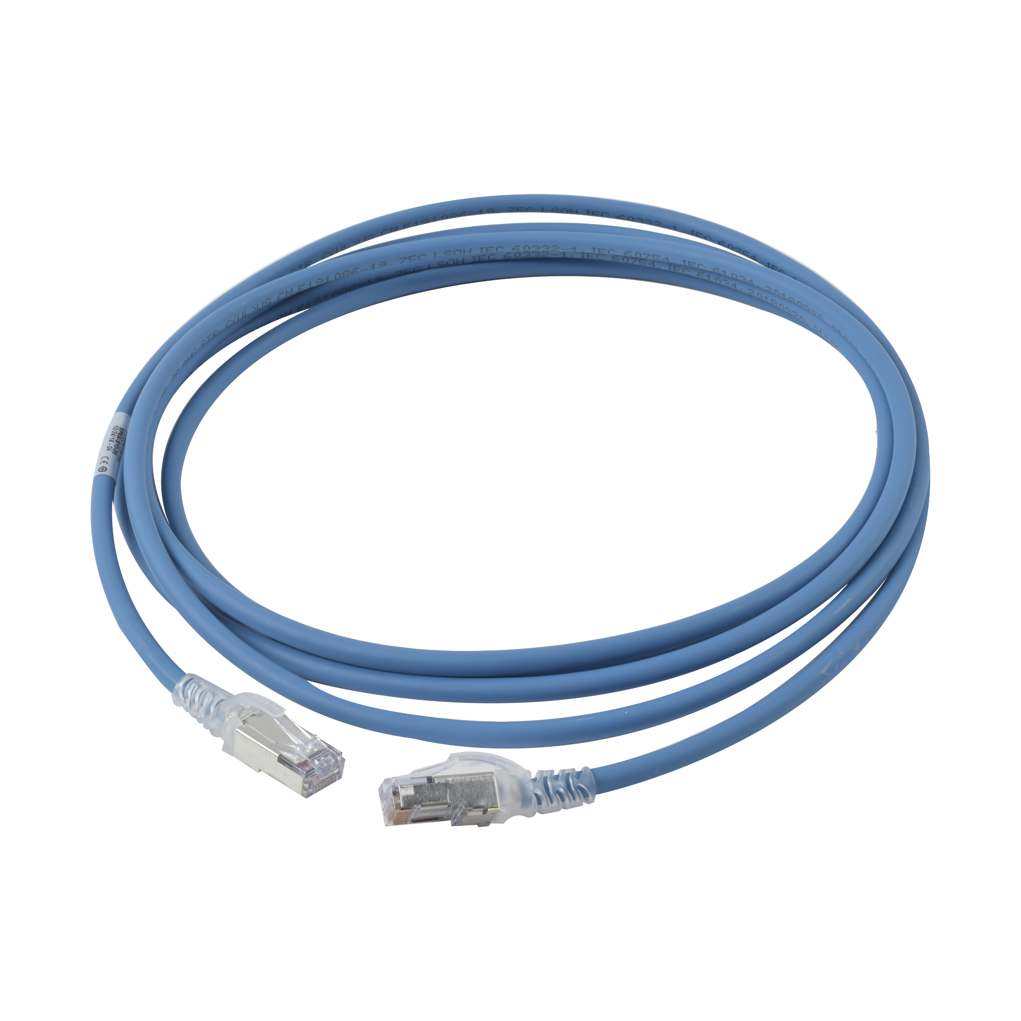 Patch Cord Skinny Cat6A Blindado S/FTP, 10ft, Diámetro Reducido 28 AWG, Color Azul