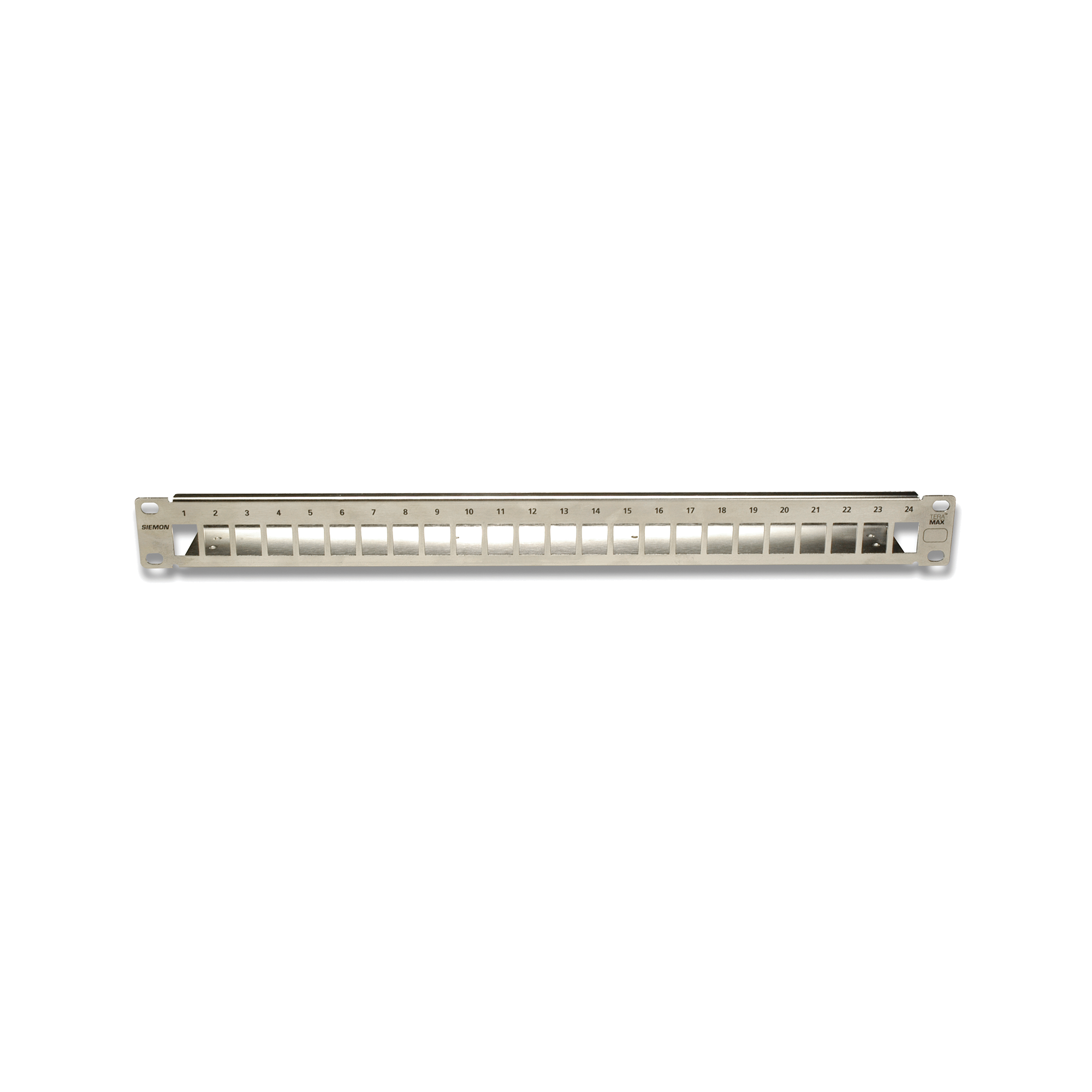 Patch Panel TERA-MAX Blindado de 24 Puertos, Modular, Plano, Color Metalico, 1UR