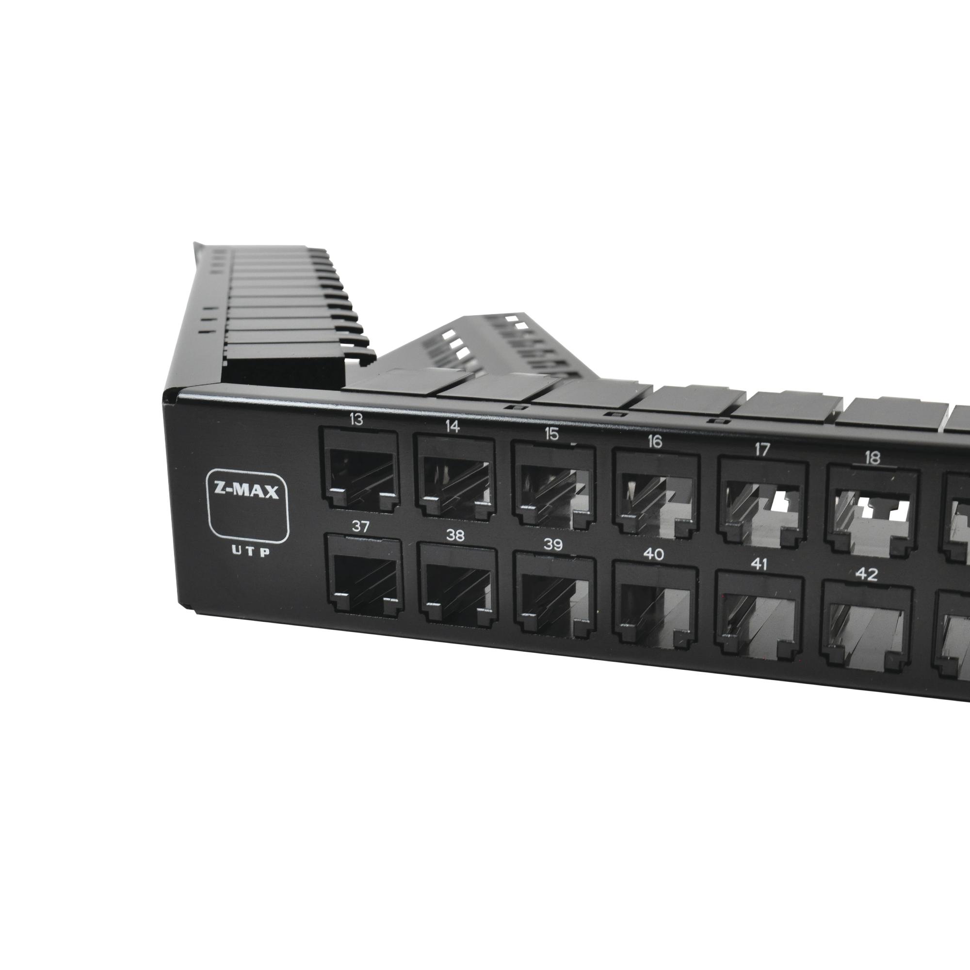 Patch Panel UTP Z-MAX Categoría 6A, de 48 puertos, Angulado, 1UR