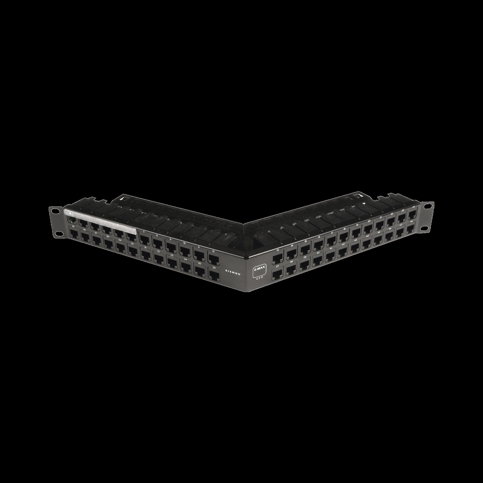 Patch Panel Z-MAX Categoría 6A, Blindado, de 48 puertos, Angulado, 1UR