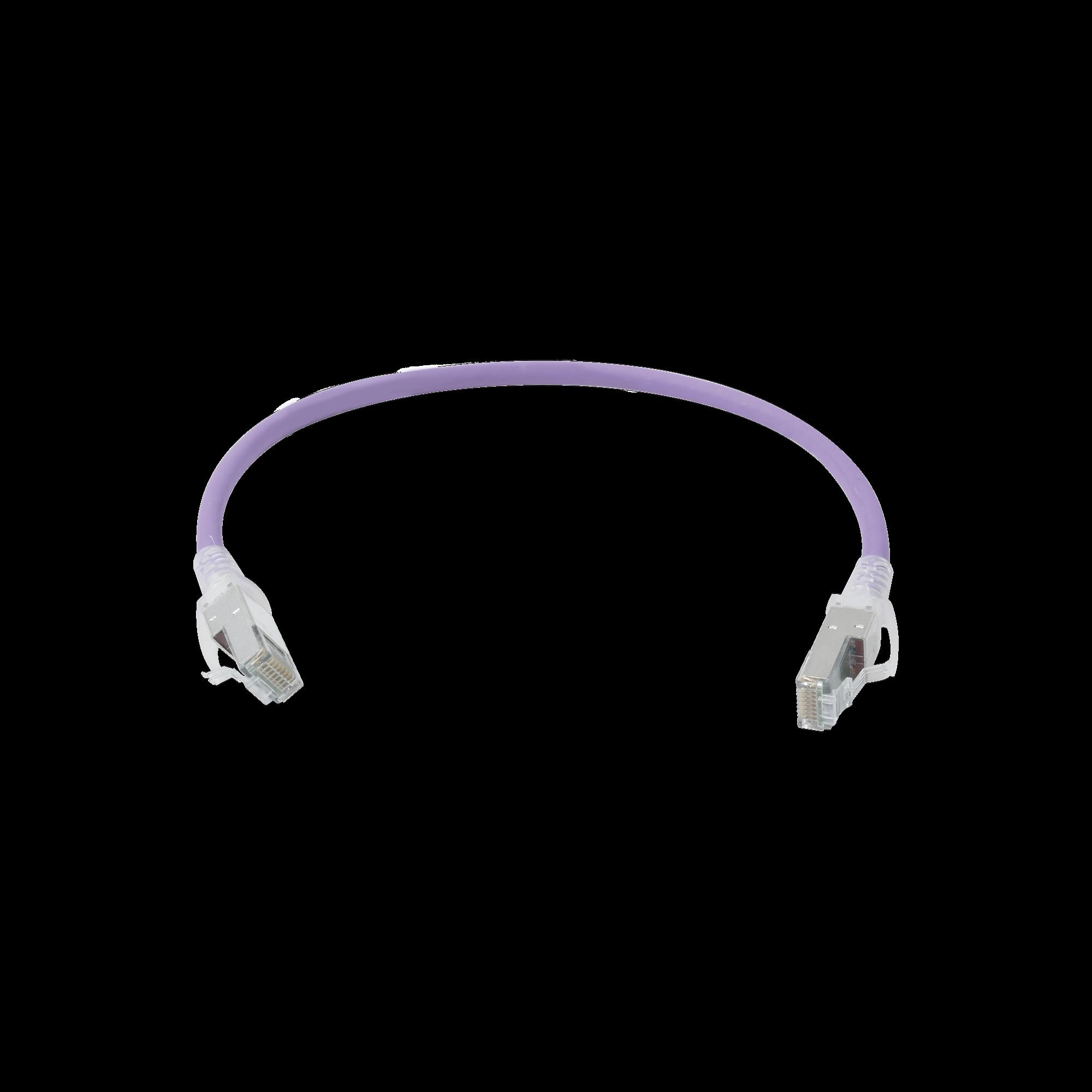 Patch Cord Z-MAX Cat6A S/FTP, CM/LS0H, 1ft, Color Violeta, Versión Bulk (Sin Empaque Individual)