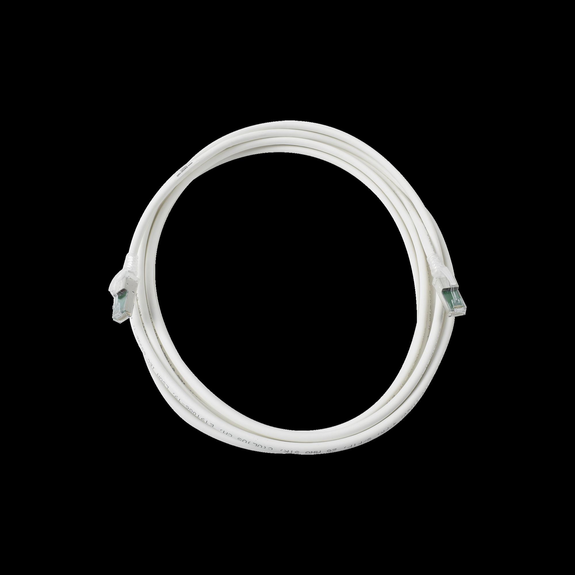 Patch Cord Z-MAX Cat6A S/FTP, CM/LS0H, 20ft, Color Blanco, Versión Bulk (Sin Empaque Individual)