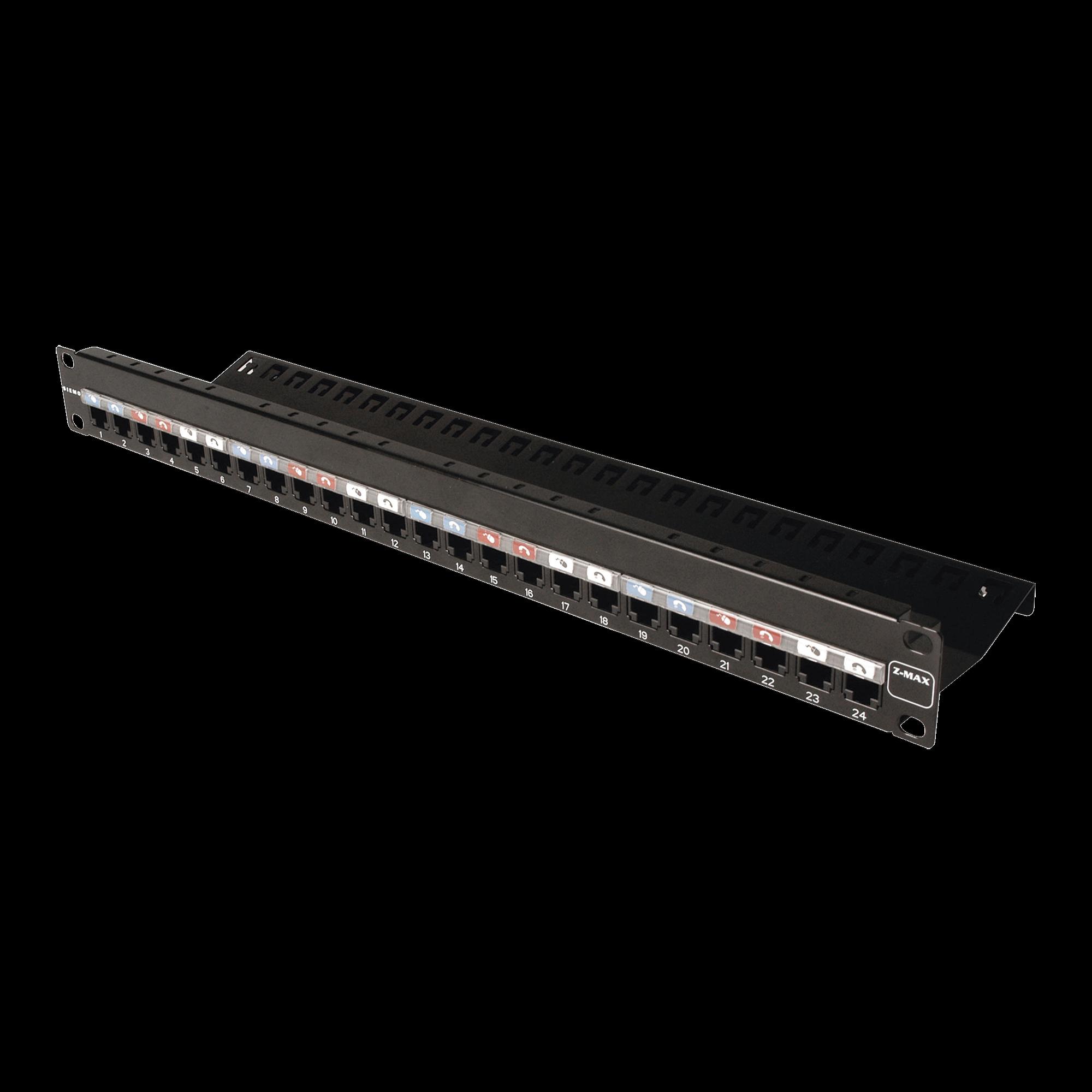 Patch Panel Z-MAX, de 24 puertos, Modular, Plano, 1UR
