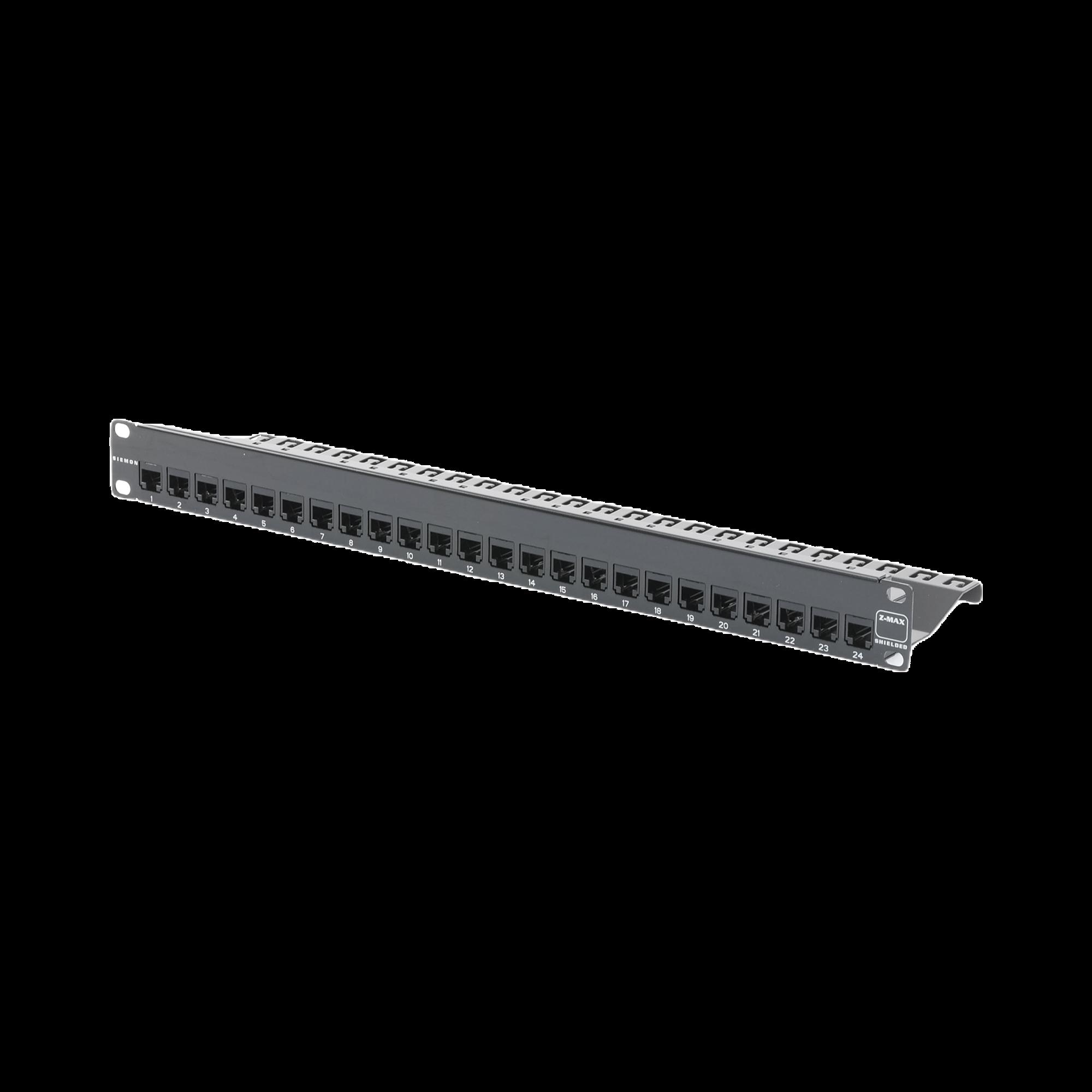 Patch Panel Z-MAX, Blindado, de 24 puertos, Modular, Plano, 1UR