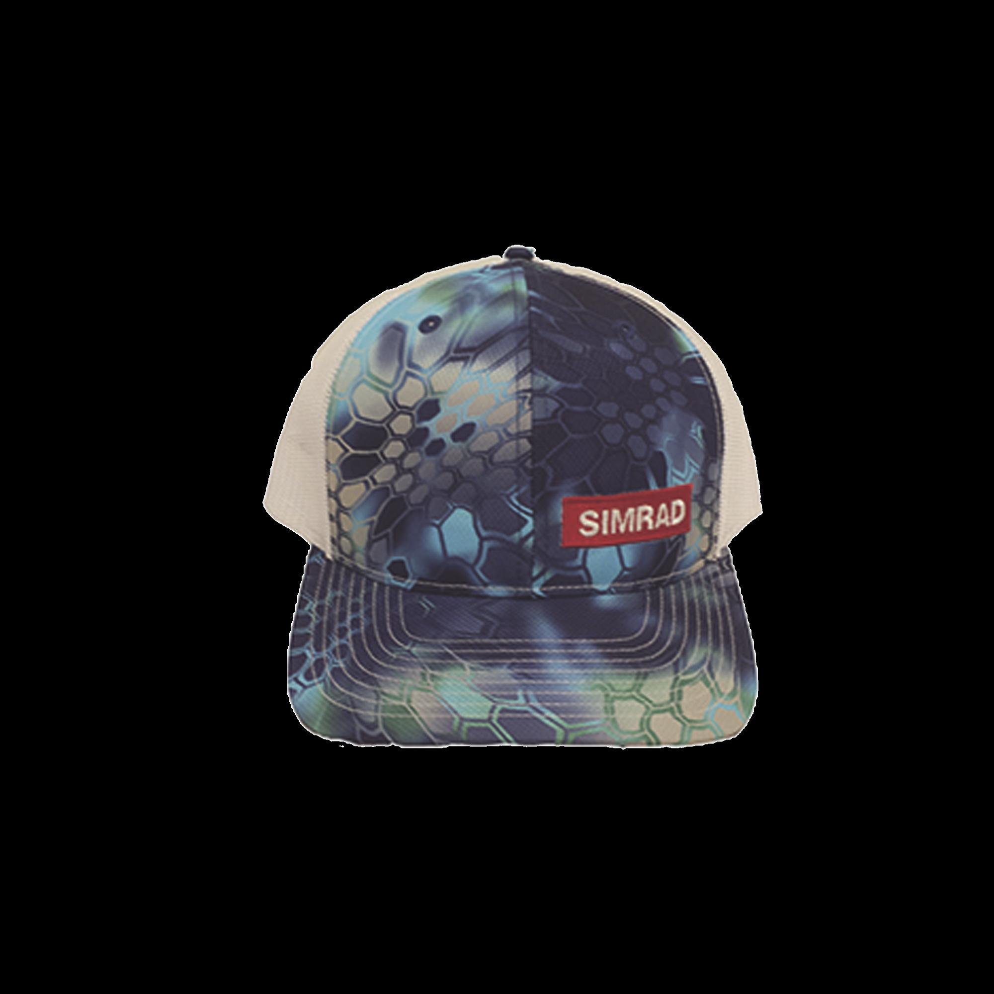 Gorra color azul y blanco con logo simrad