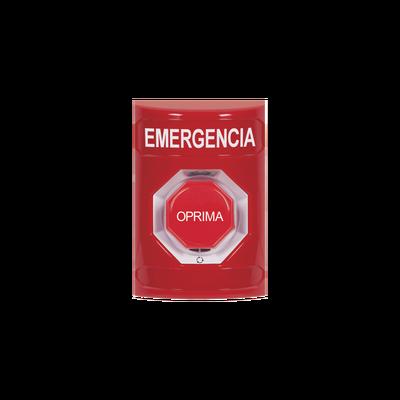 Botón de Emergencia en Español,  Color Rojo, Acción Mantenida, Girar para Restablecer y LED Multicolor