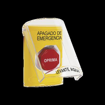 Botón de Apagado de Emergencia con Tapa Protectora de Policarbonato Súper Resistente y Restablecimiento con Llave