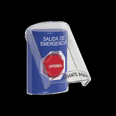 Botón de Salida de Emergencia, Texto en Español, Tapa Protectora de Policarbonato Súper Resistente y Restablecimiento con Llave