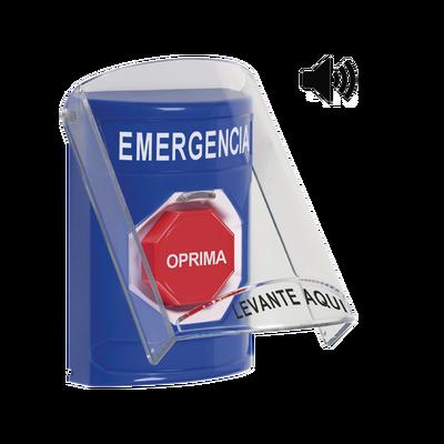 Botón de Emergencia en Español con Tapa Protectora de Policarbonato Súper Resistente, Restablecimiento con Llave y Sirena