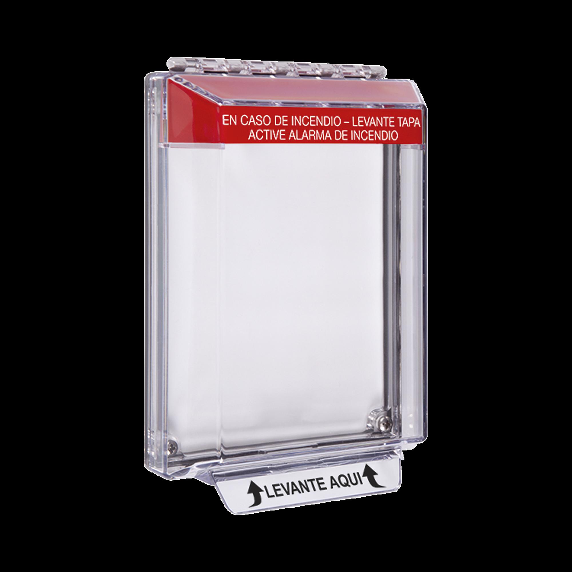 Cubierta Universal Transparente, de Bajo Perfil, Texto de Incendio en Español, Notificación Audible y Visible