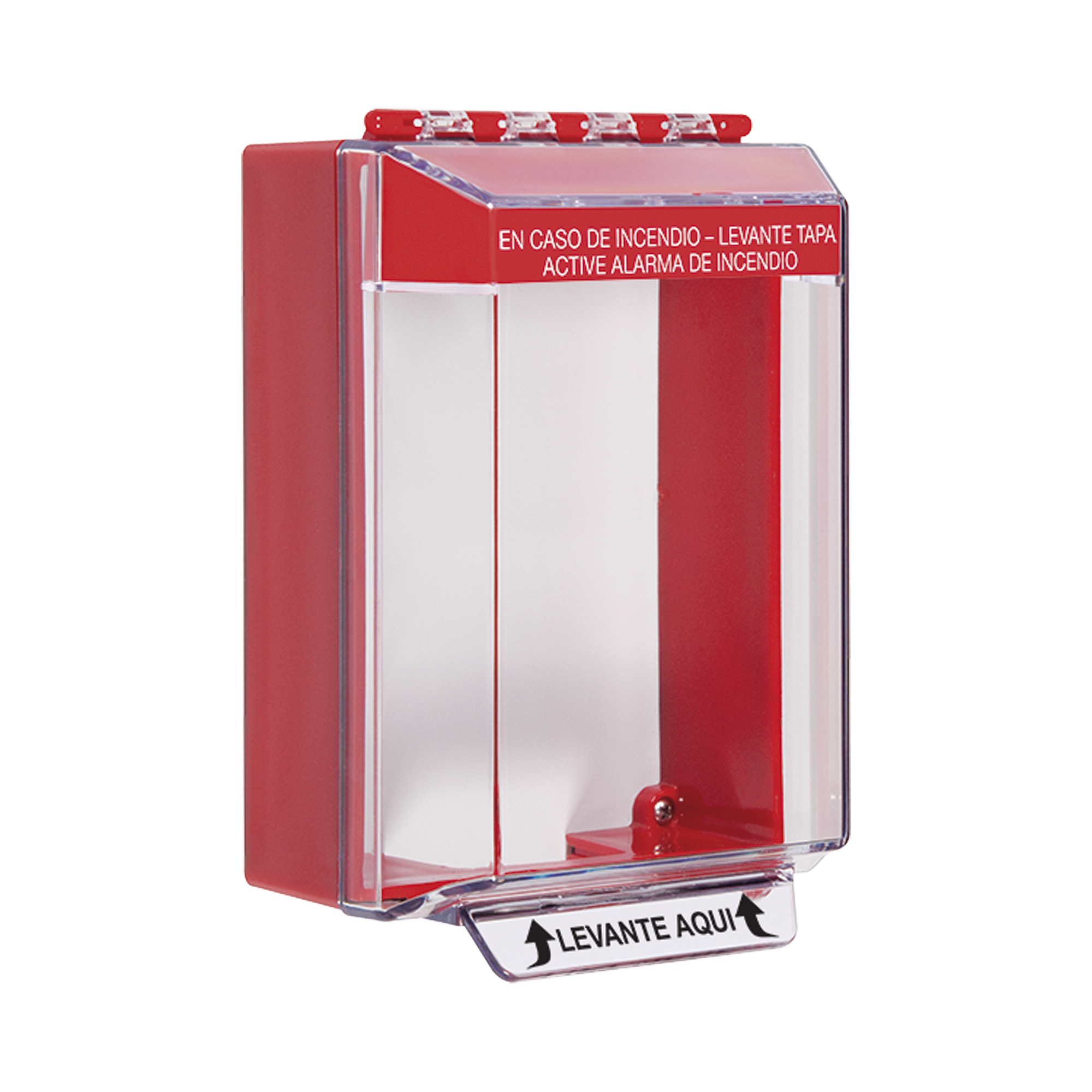 Cubierta Universal Transparente, de Bajo Perfil, con Espaciador, Texto de Incendio en Español, Notificación Audible y Visible