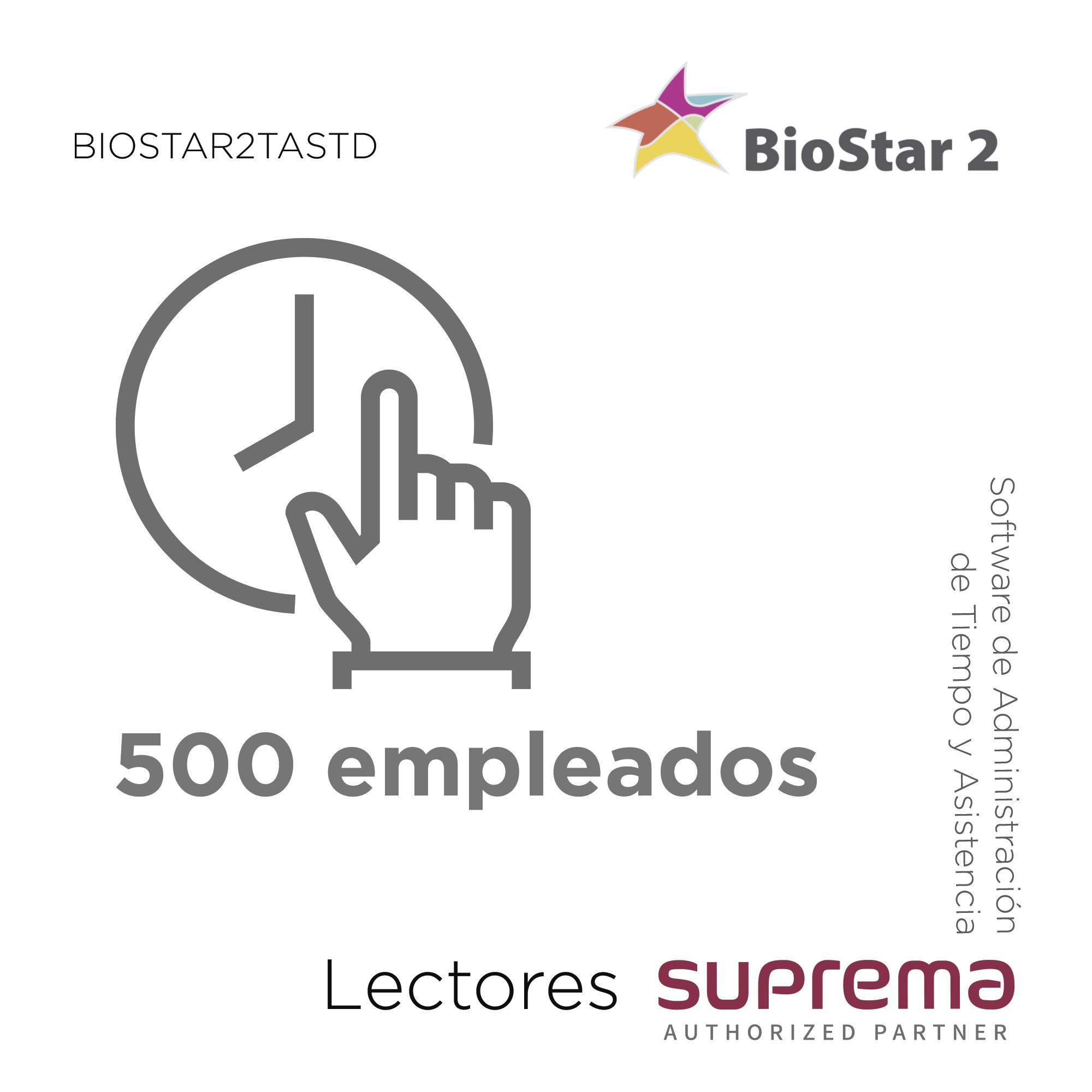 Software de Administración de Tiempo y Asistencia para 500 empleados,   para Lectores SUPREMA