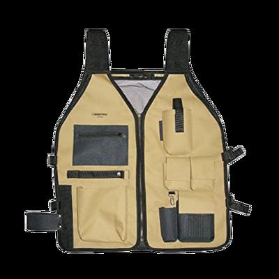 Chaleco porta herramientas 6 compartimientos con cinturones ajustables.