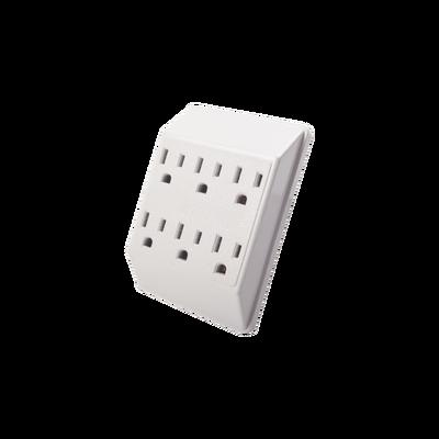 Multicontacto de pared  6 tomas 127vca l-t-n 15A max