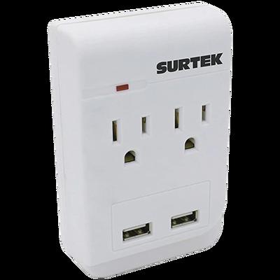 Multicontacto de ABS con 2 entradas de corriente  y 2 de USB.